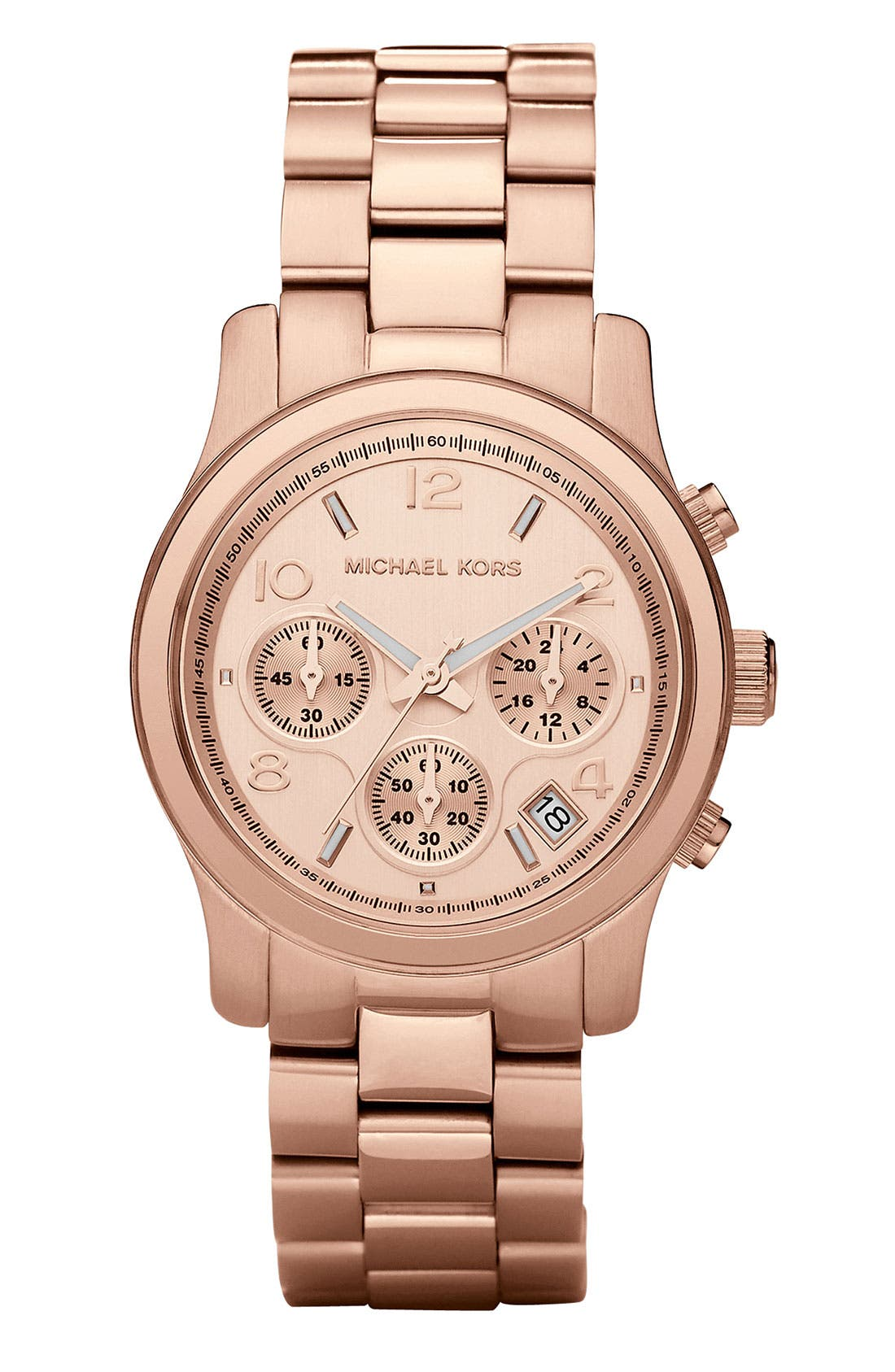 MICHAEL MICHAEL KORS,                             Michael Kors 'Runway' Rose Gold Plated Watch, 37mm,                             Main thumbnail 1, color,                             710