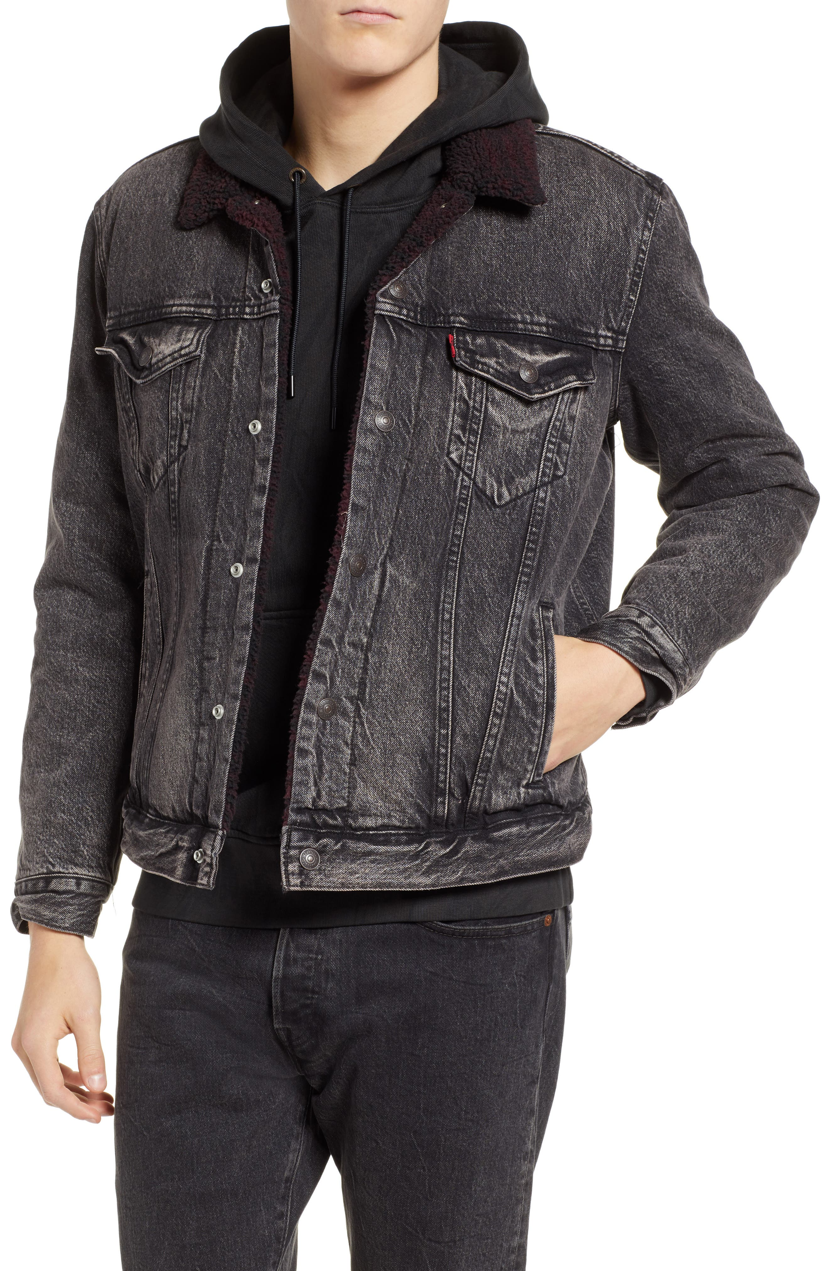 x Justin Timberlake Faux Shearling Collar Trucker Jacket,                         Main,                         color, BRUSTED