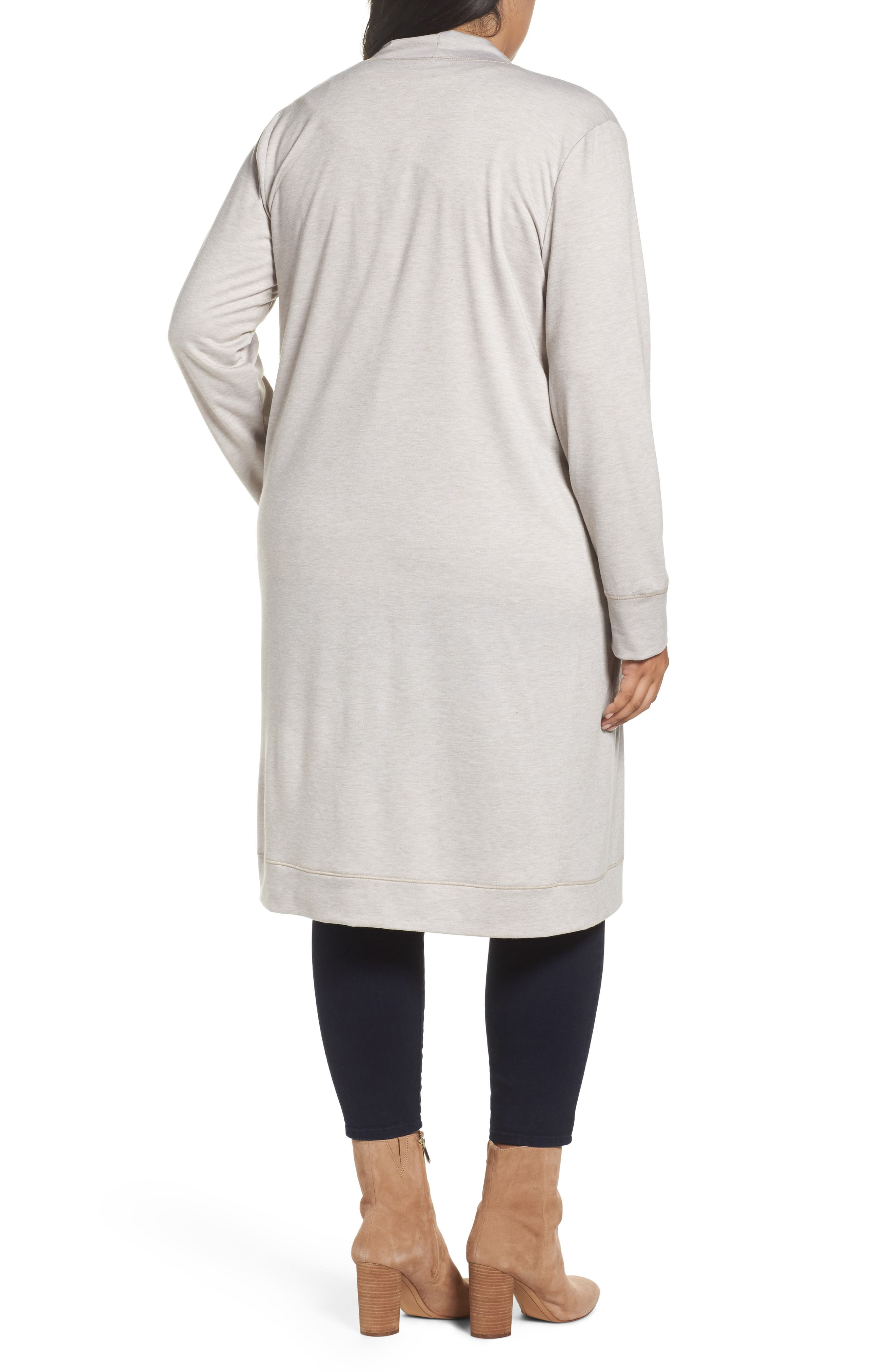 Long French Terry Cardigan,                             Alternate thumbnail 6, color,