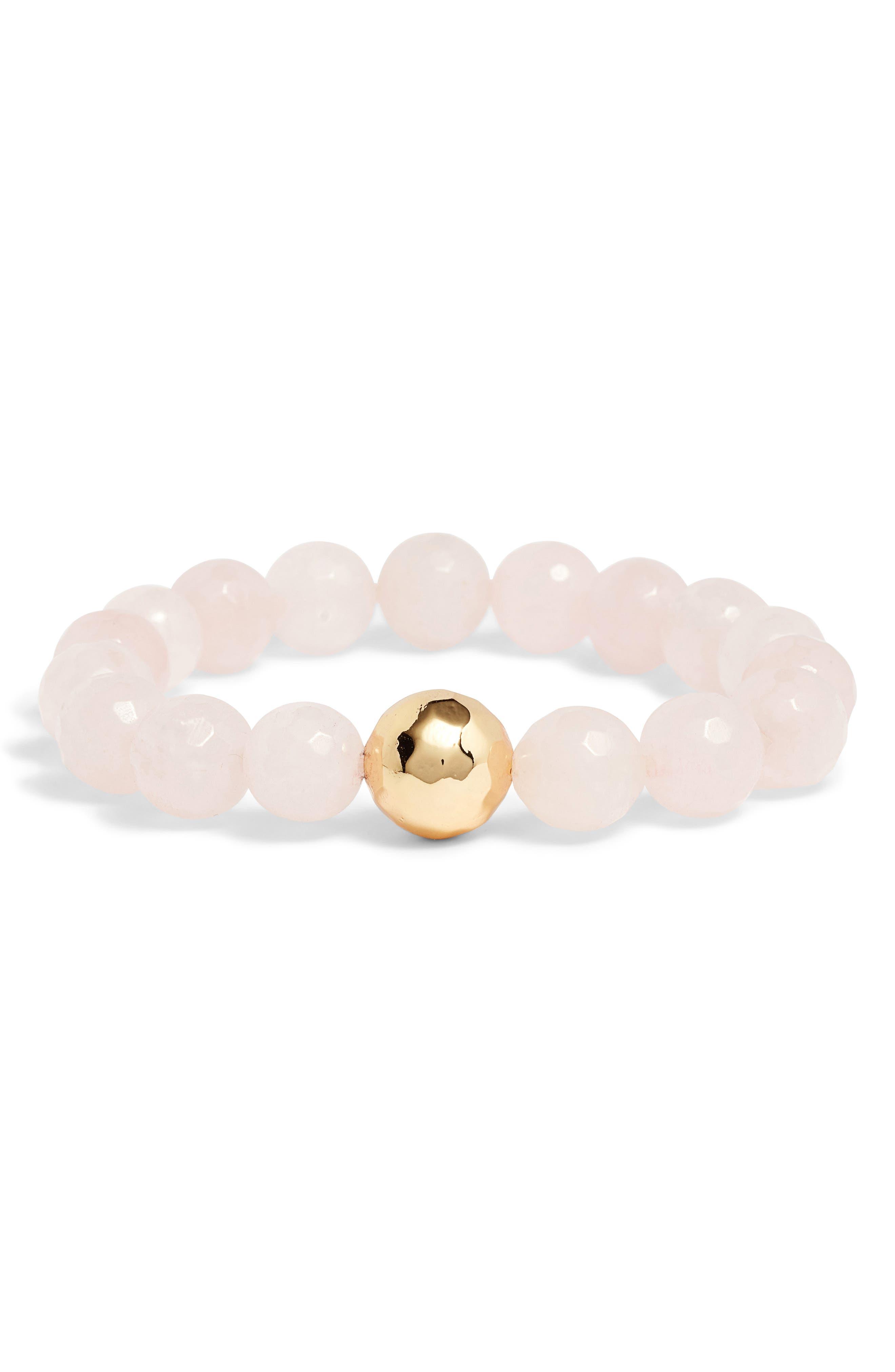 Power Gemstone Rose Quartz for Love Bracelet,                             Main thumbnail 1, color,                             650