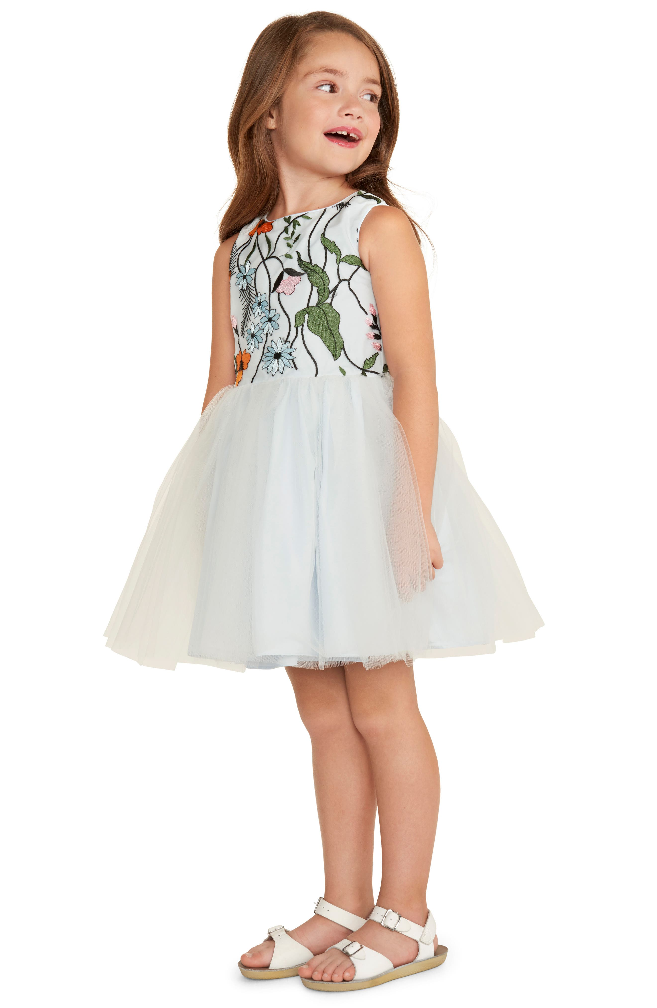Embroidered Floral Tulle Dress,                             Alternate thumbnail 3, color,                             460