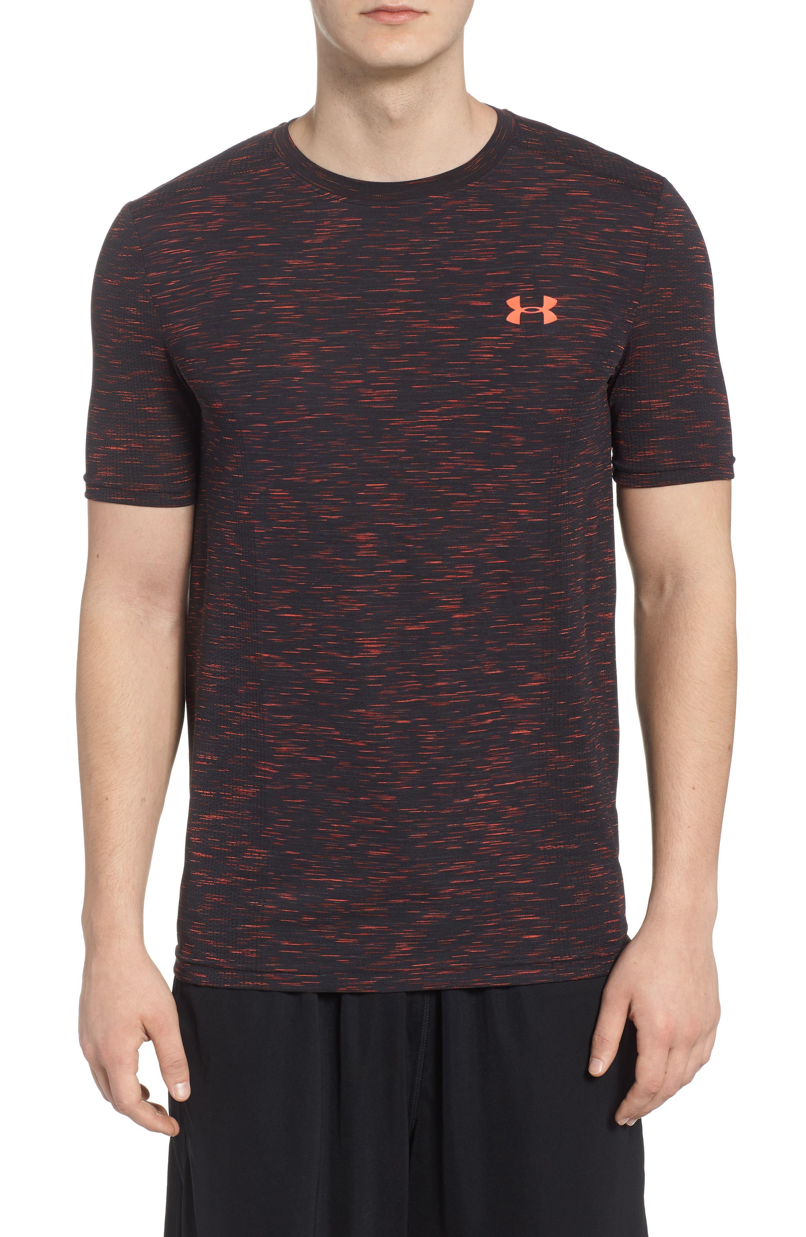 Threadborne Regular Fit T-Shirt,                             Main thumbnail 1, color,                             ANTHRACITE/ NEON CORAL