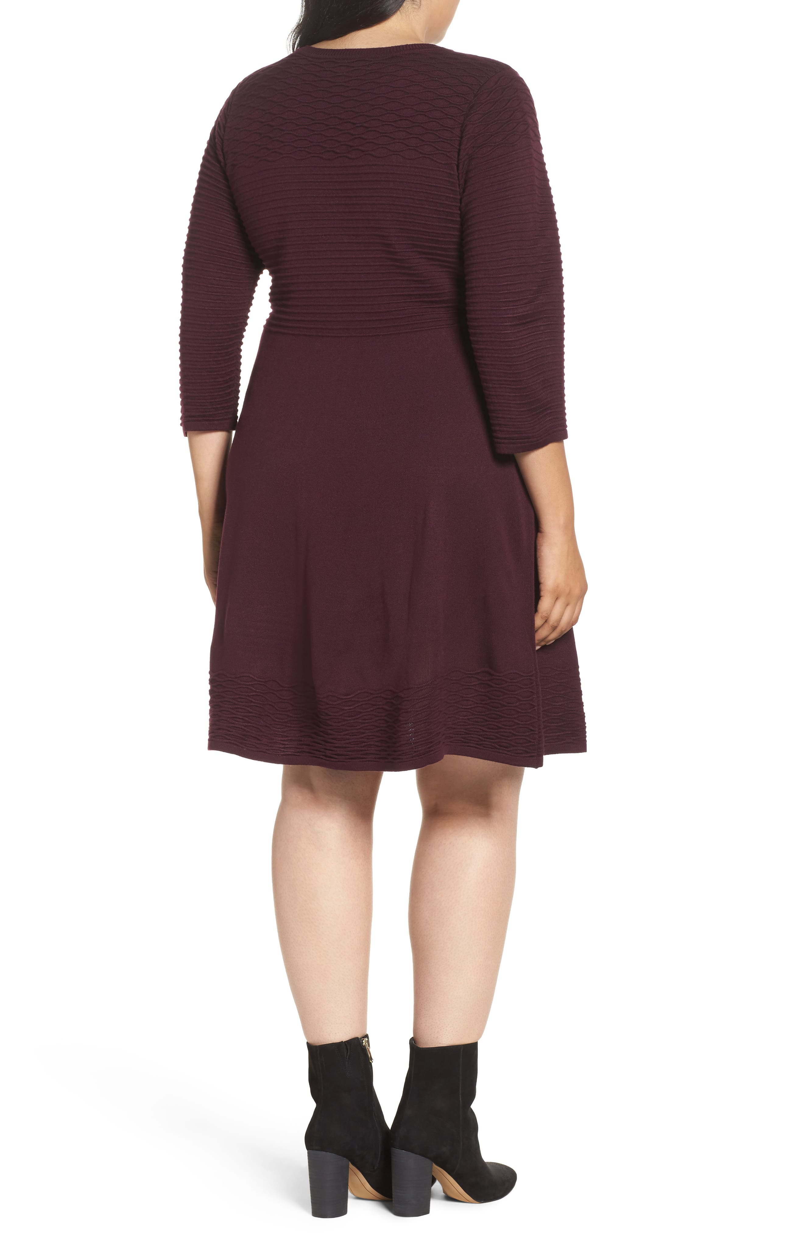 Knit Fit & Flare Dress,                             Alternate thumbnail 2, color,
