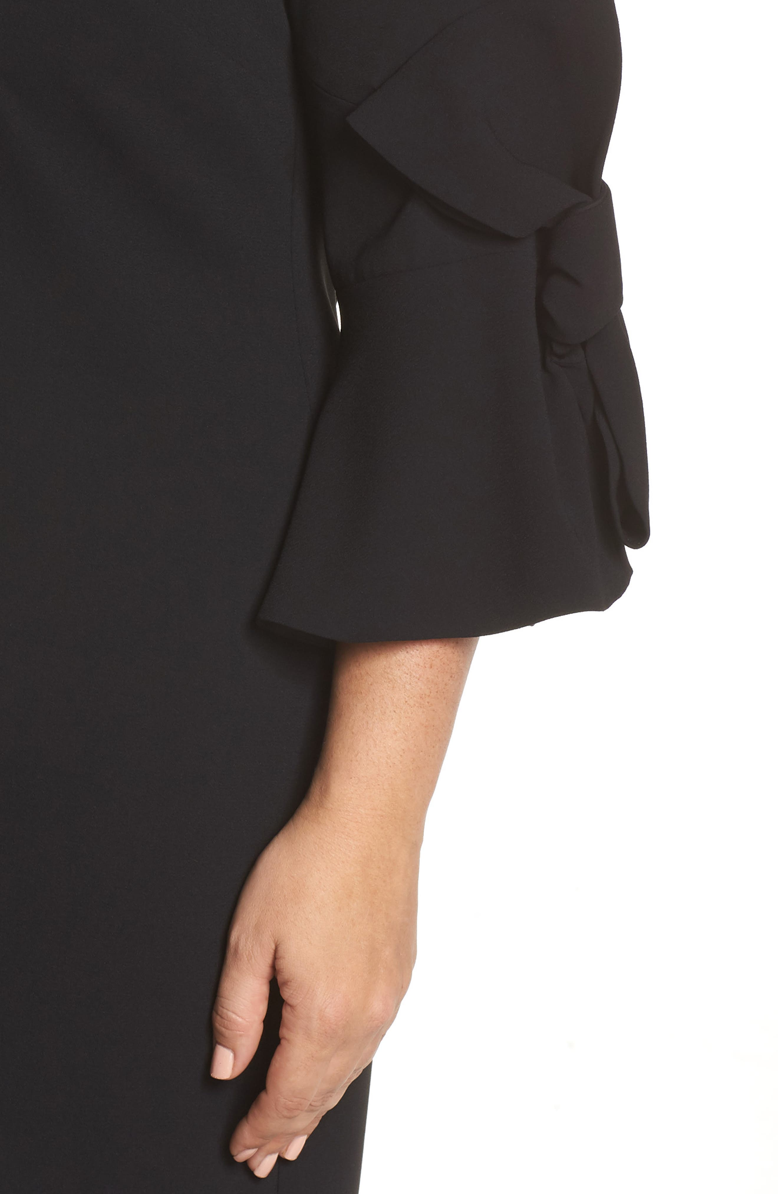 Moss Crepe Bow Shift Dress,                             Alternate thumbnail 4, color,                             RICH BLACK
