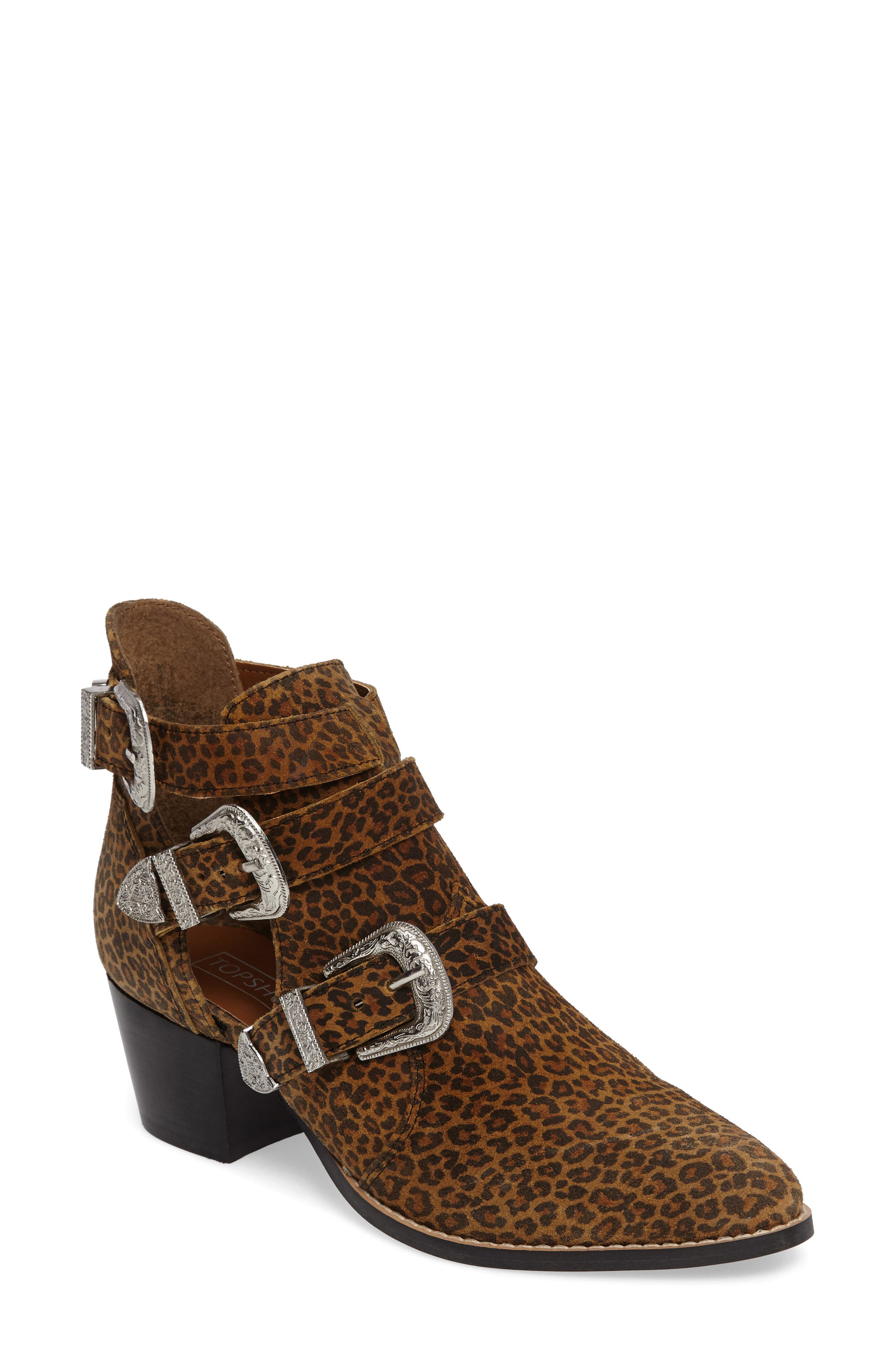 Marmalade Leopard Print Buckle Bootie,                             Main thumbnail 1, color,