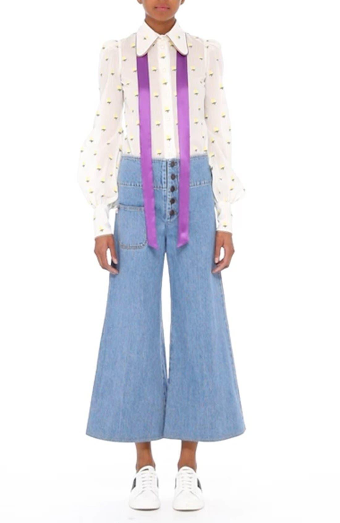 High Waist Crop Flare Jeans,                             Alternate thumbnail 9, color,                             491