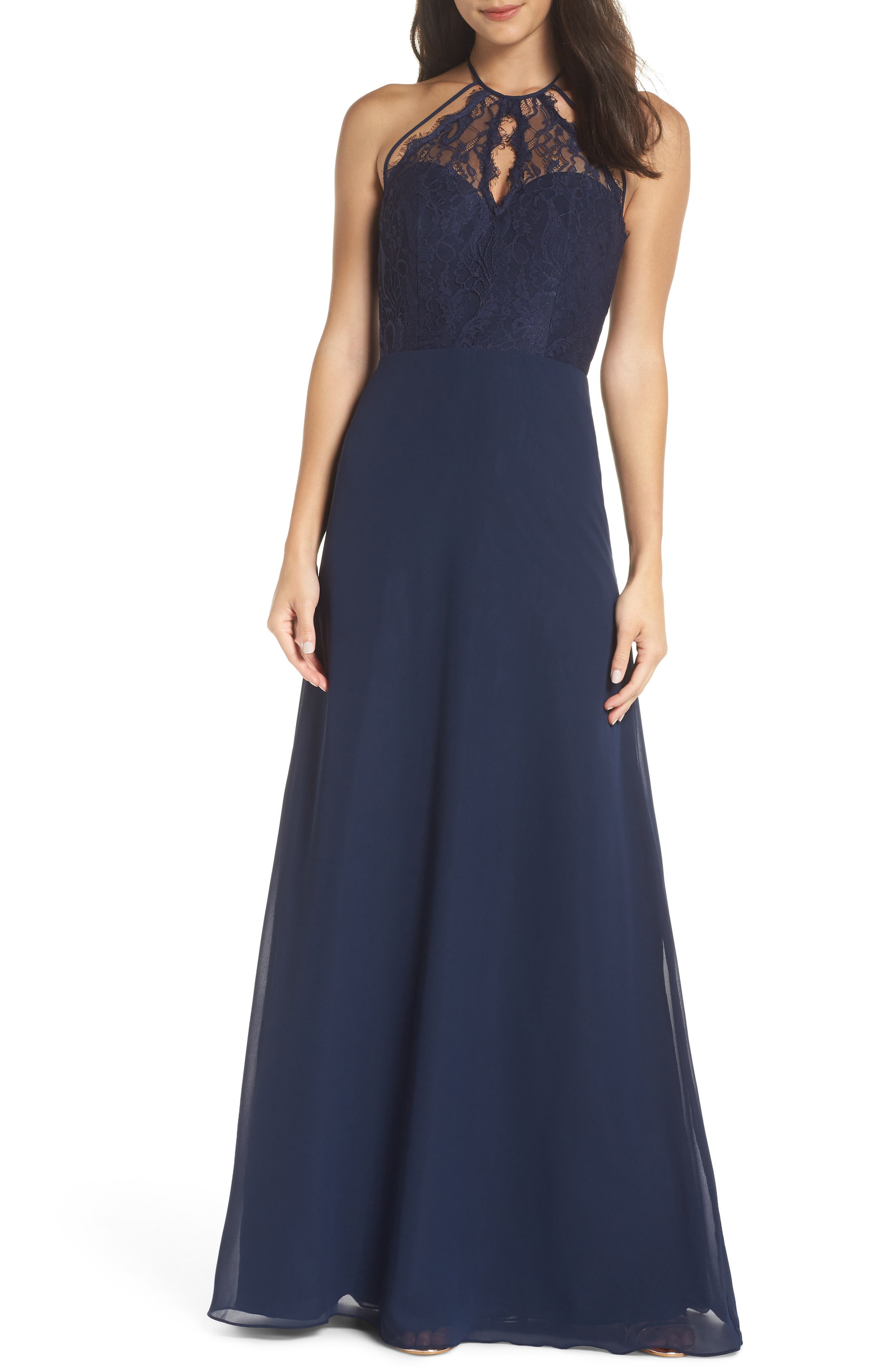 Hayley Paige Occasions Lace & Chiffon Halter Gown, Blue