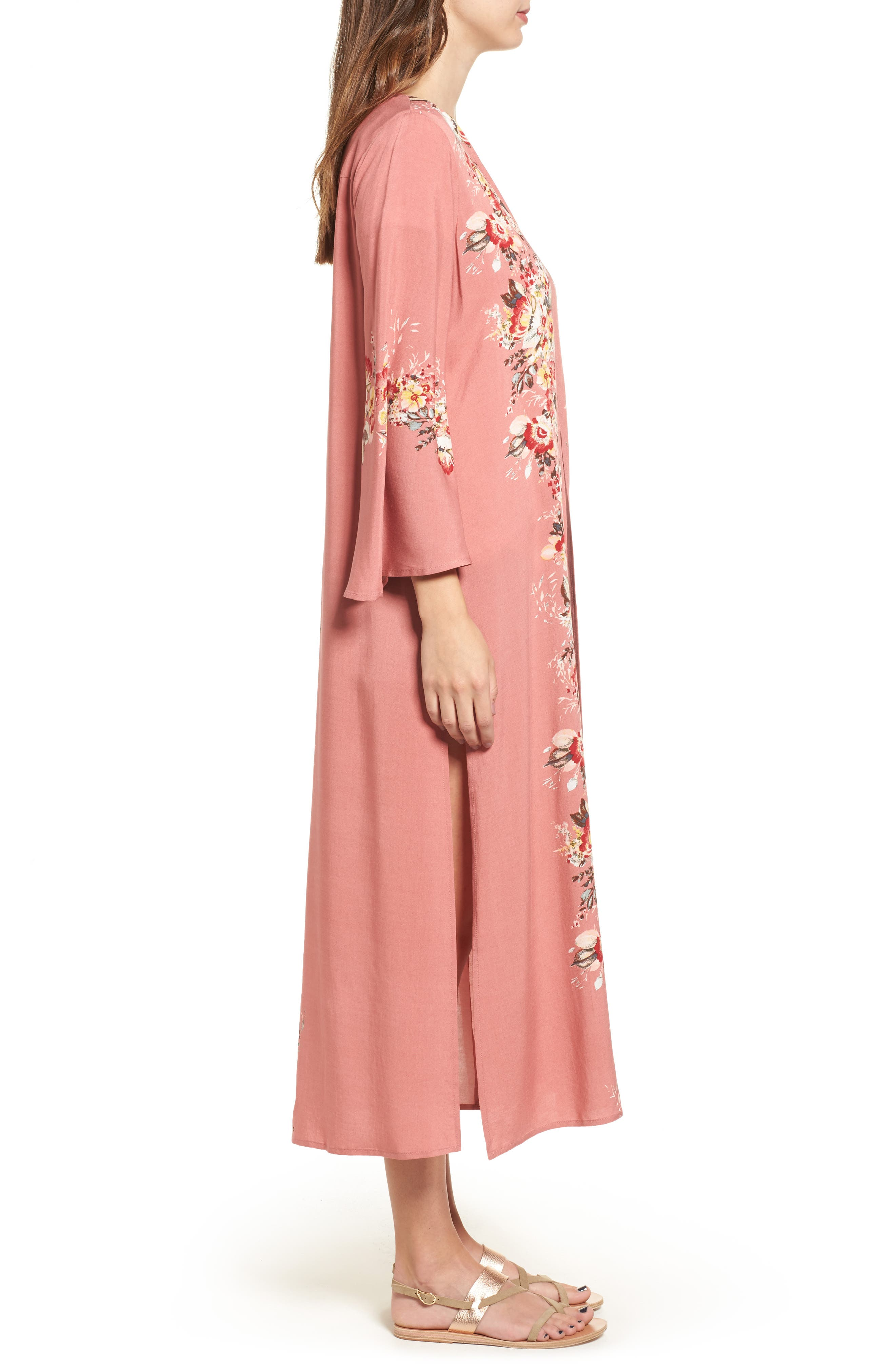Placed Floral Kimono,                             Alternate thumbnail 3, color,                             698