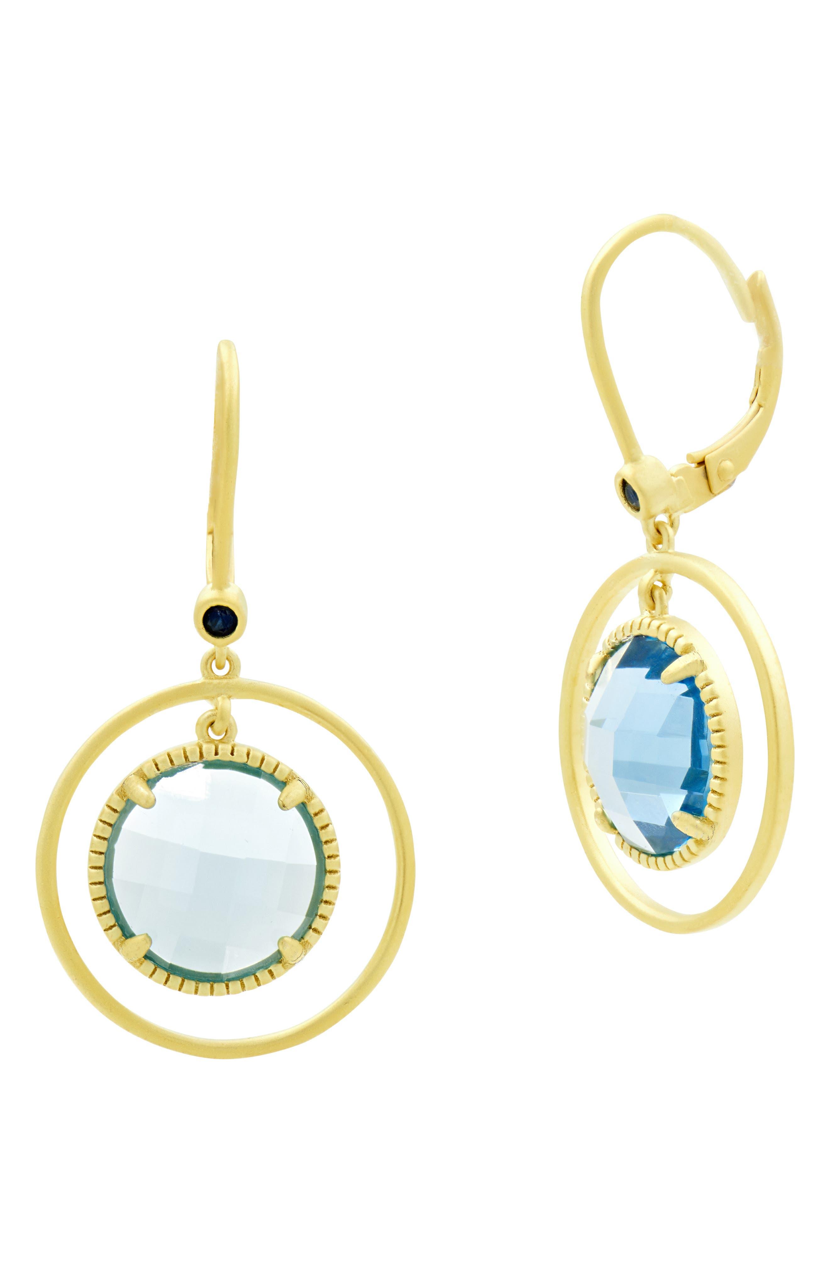 FREIDA ROTHMAN Imperial Circle Pendant Earrings, Main, color, GOLD/ BLUE