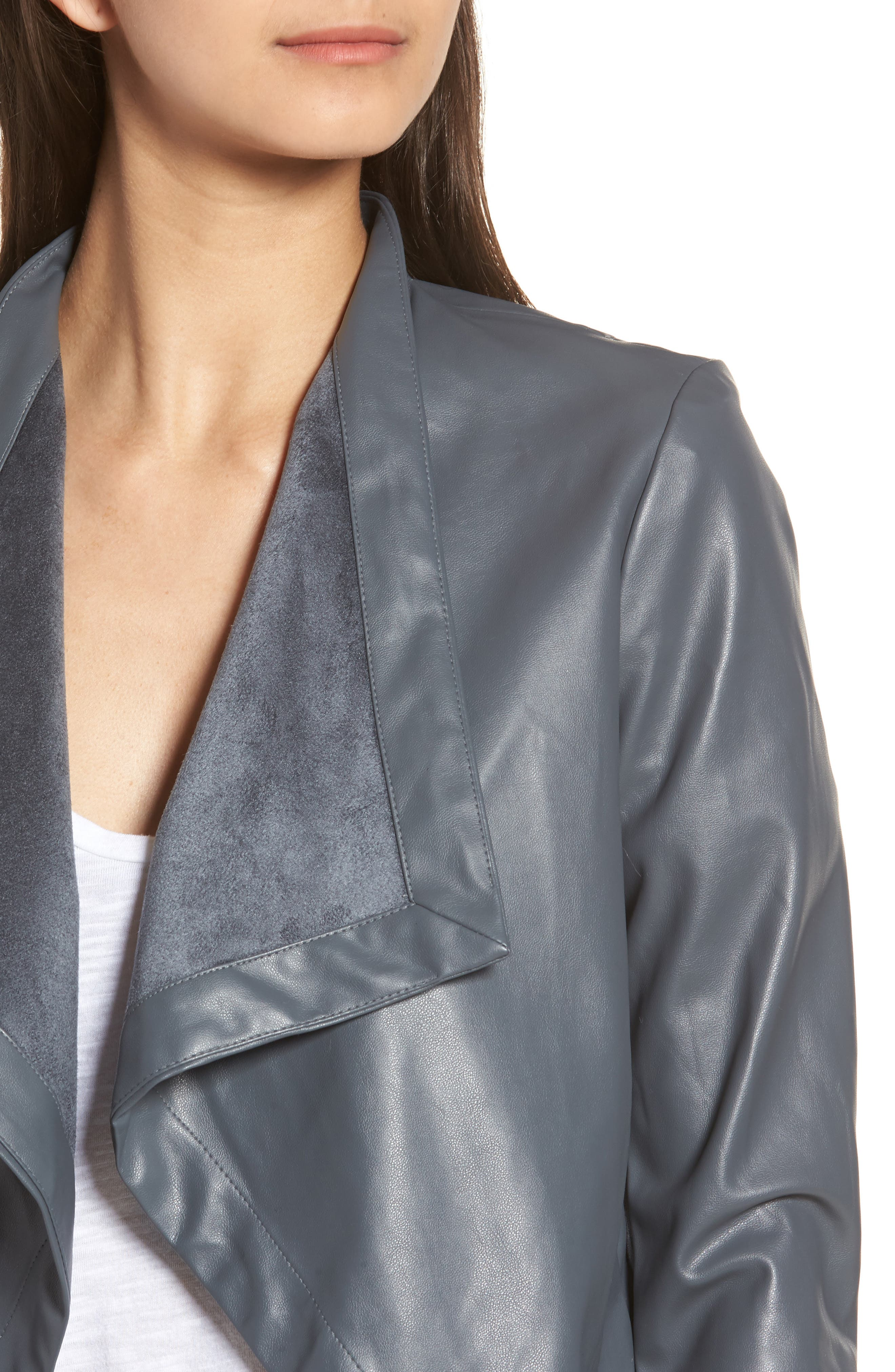 'Peppin' Drape Front Faux Leather Jacket,                             Alternate thumbnail 31, color,