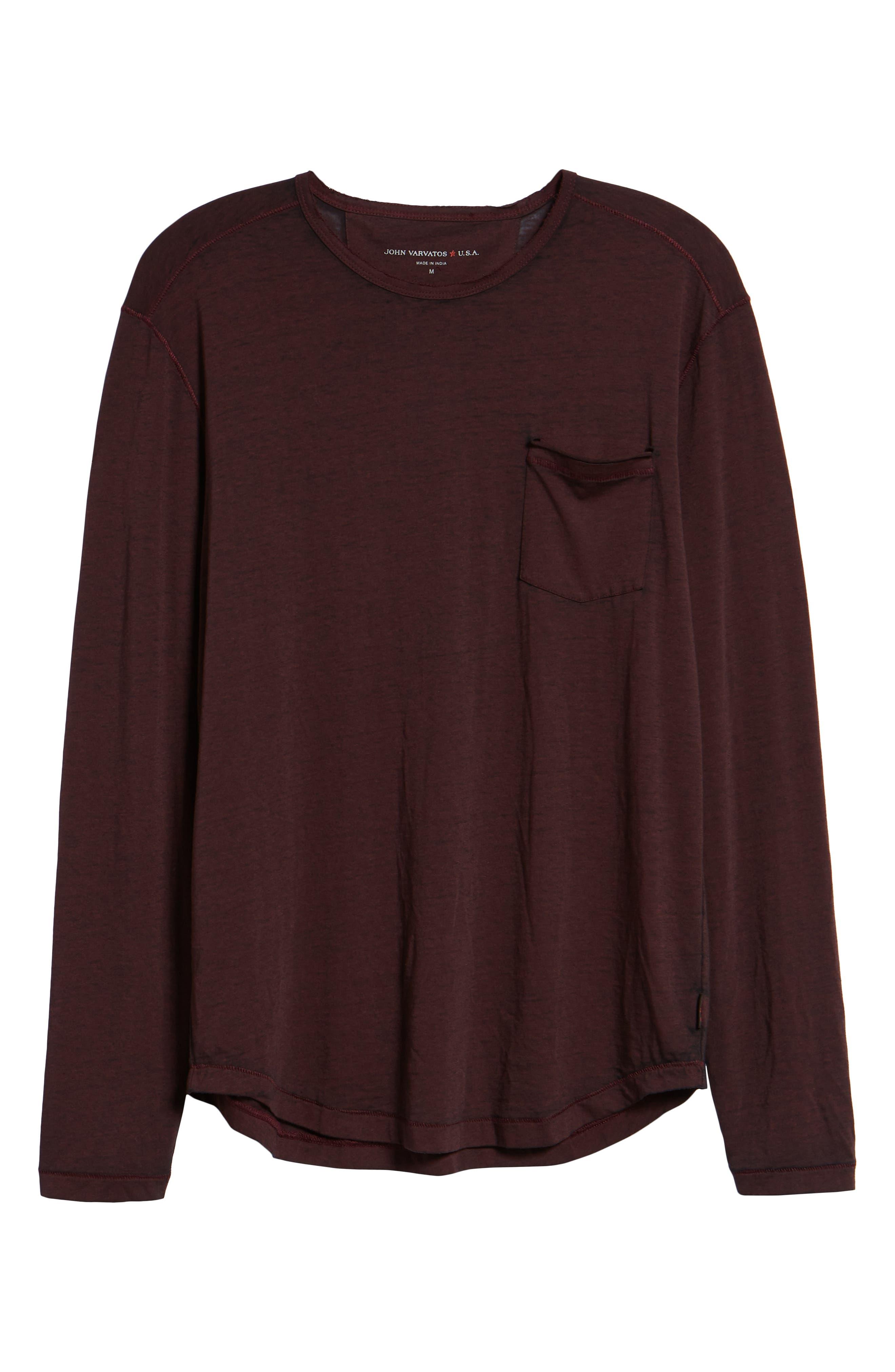 Burnout Long Sleeve T-Shirt,                             Alternate thumbnail 6, color,                             BORDEAUX