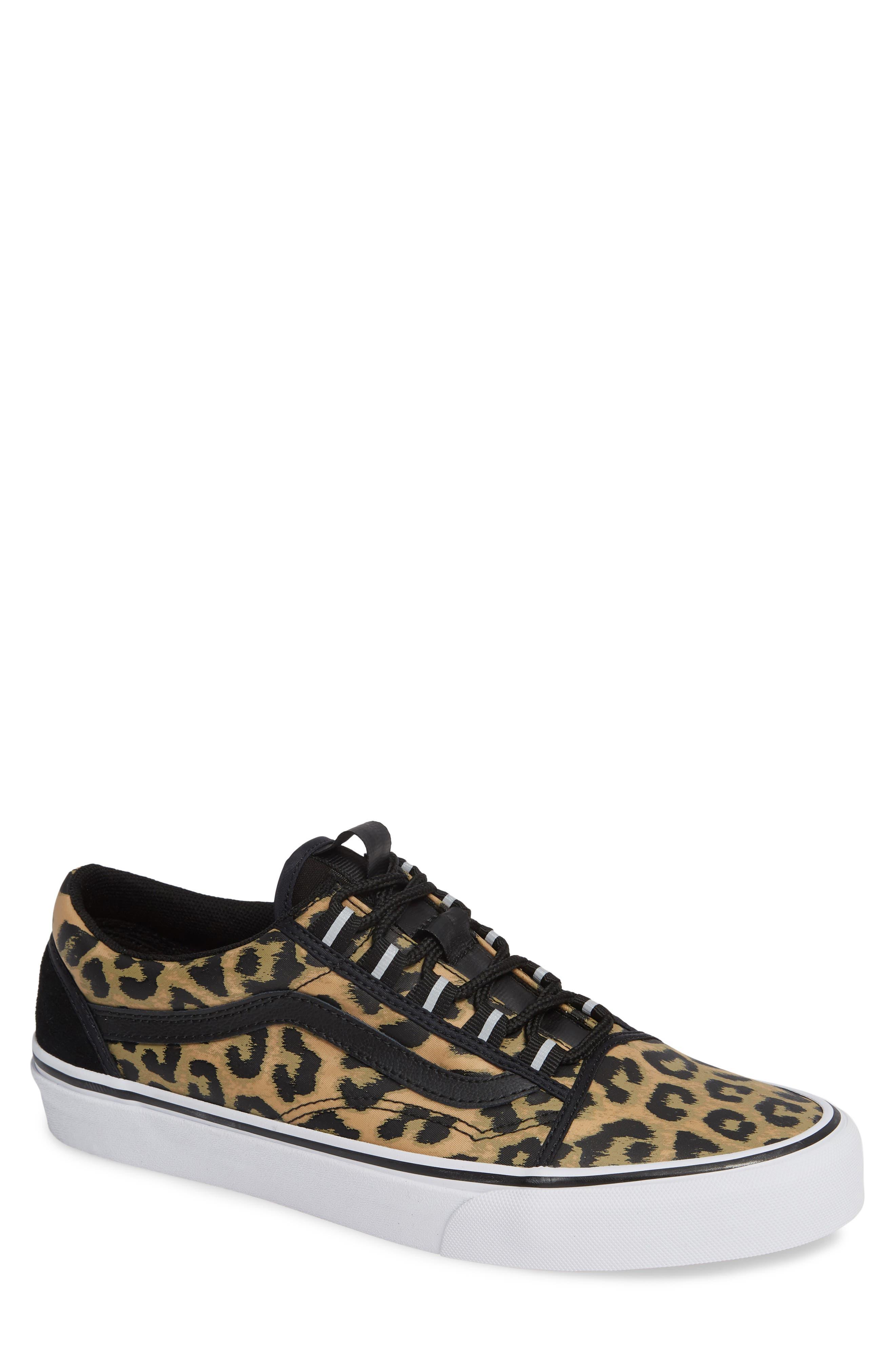 Old Skool Ghillie Sneaker,                             Main thumbnail 1, color,                             BLACK NYLON/ LEOPARD NYLON