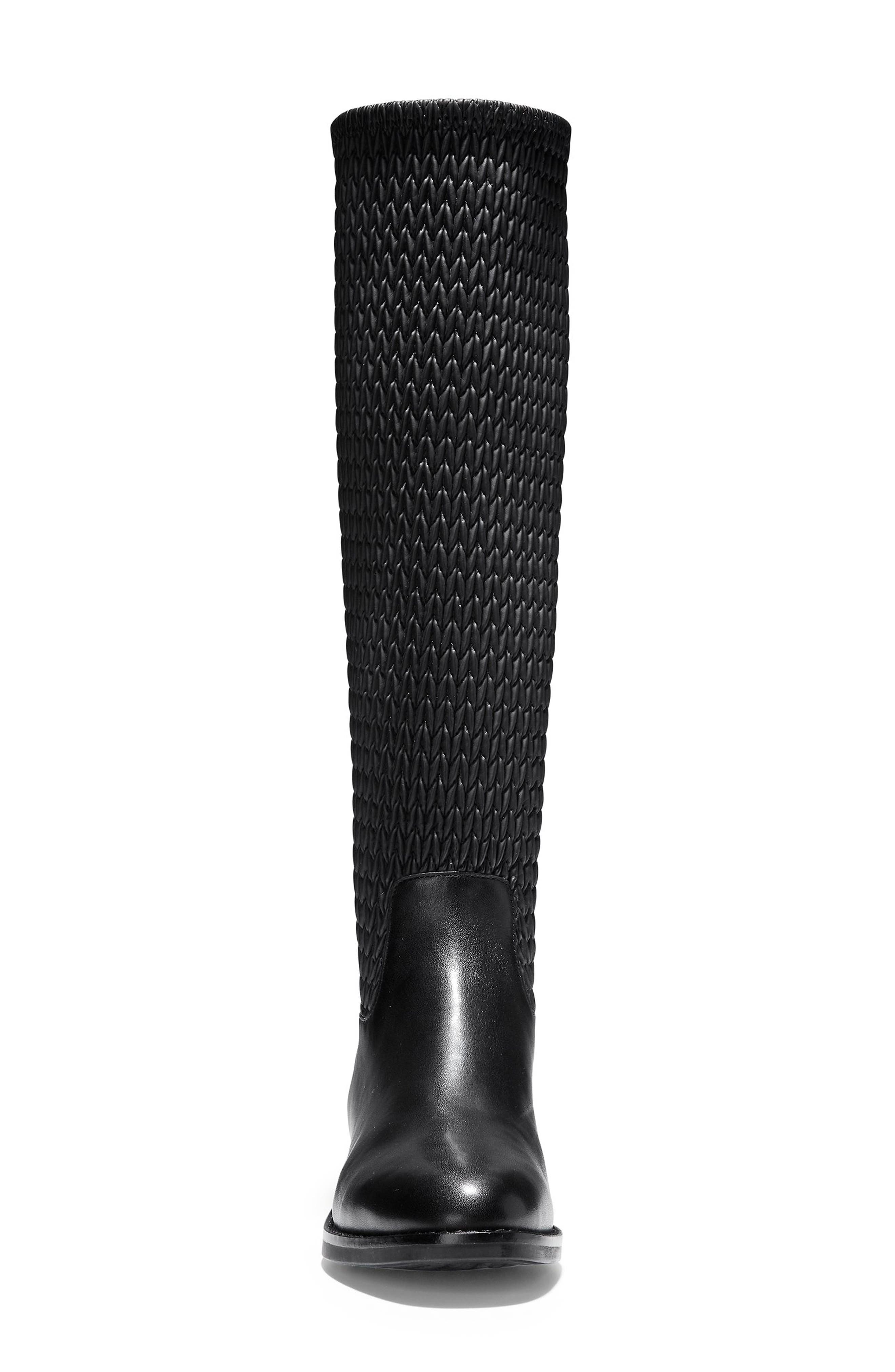 Lexi Grand Knee High Stretch Boot,                             Alternate thumbnail 4, color,                             BLACK LEATHER