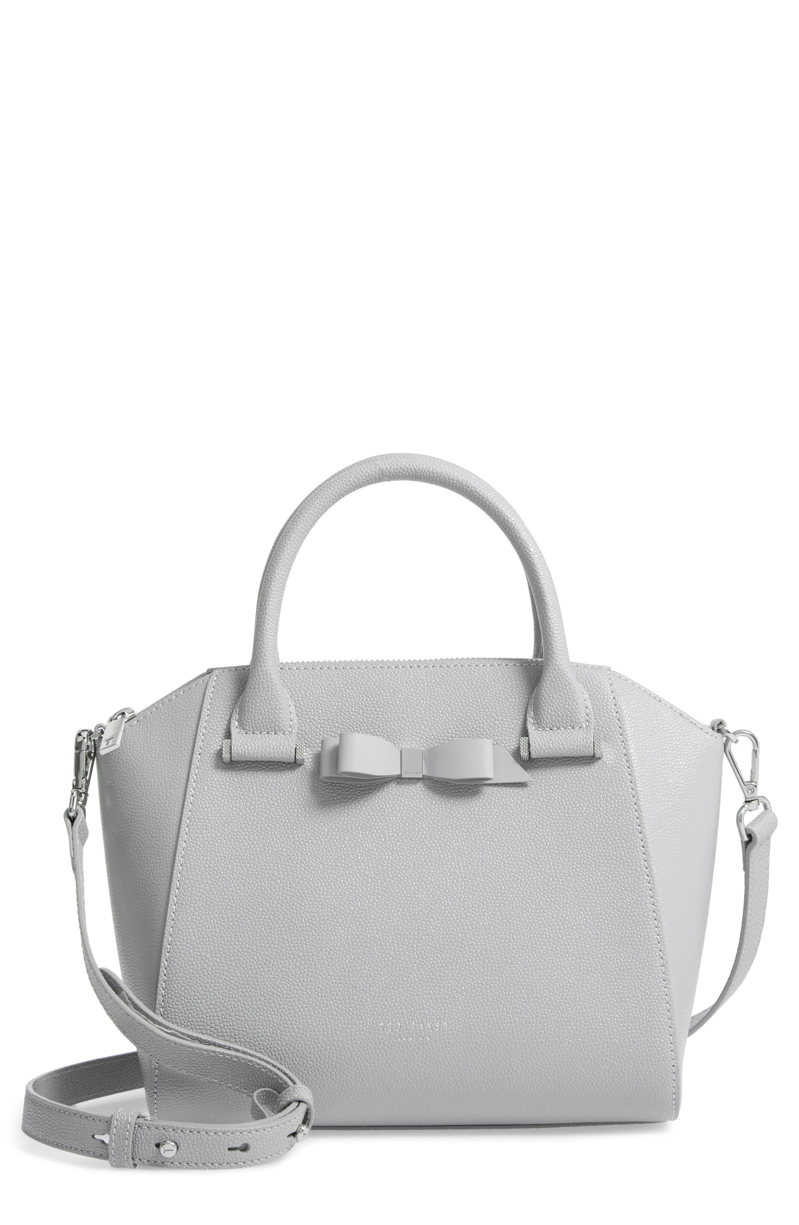 TED BAKER LONDON,                             Janne Bow Leather Tote,                             Main thumbnail 1, color,                             GREY