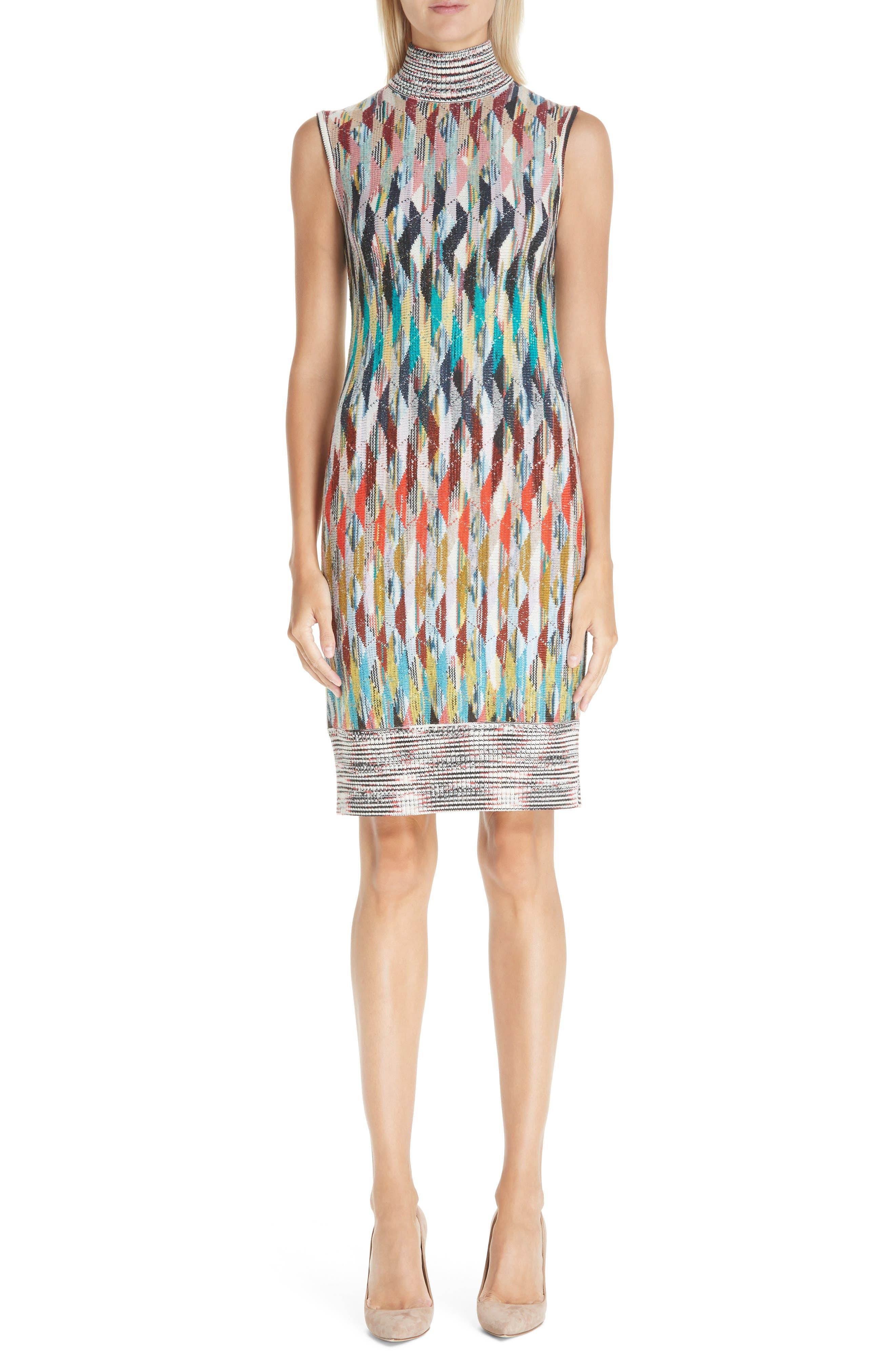 Knit Turtleneck Dress,                             Main thumbnail 1, color,                             MULTI