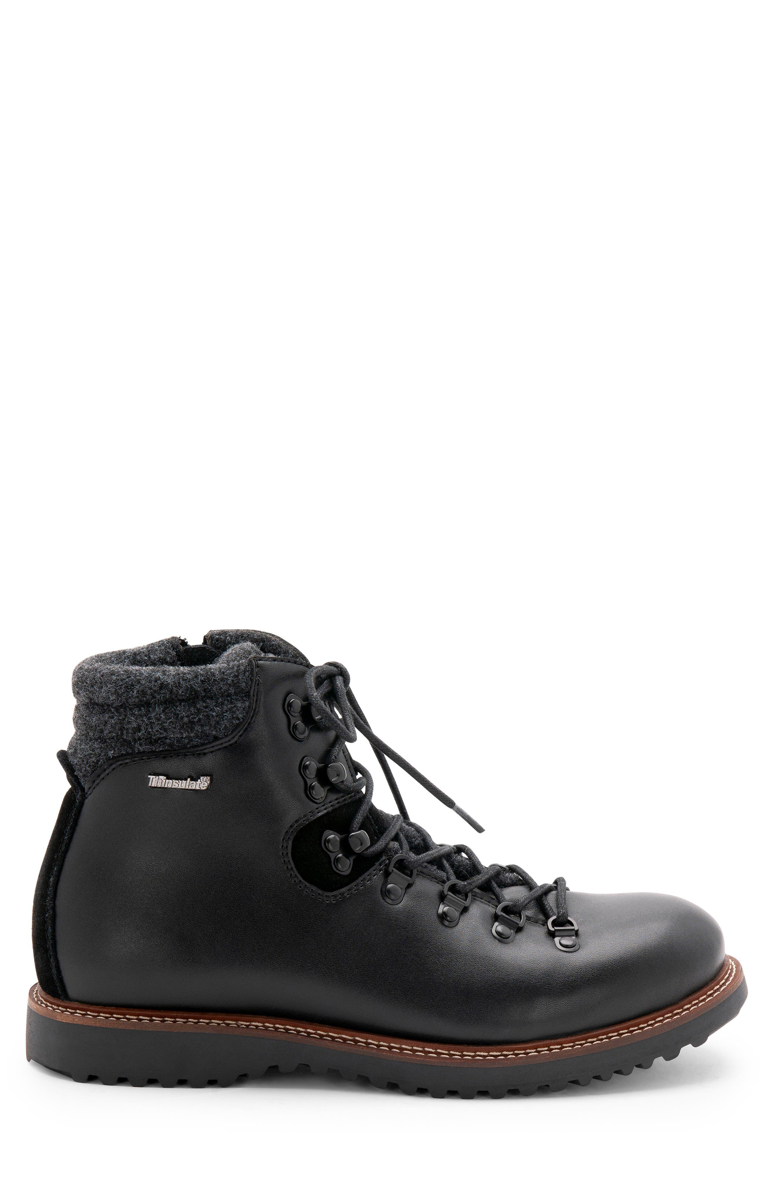 Morgan Waterproof Plain Toe Boot,                             Alternate thumbnail 3, color,                             BLACK LEATHER