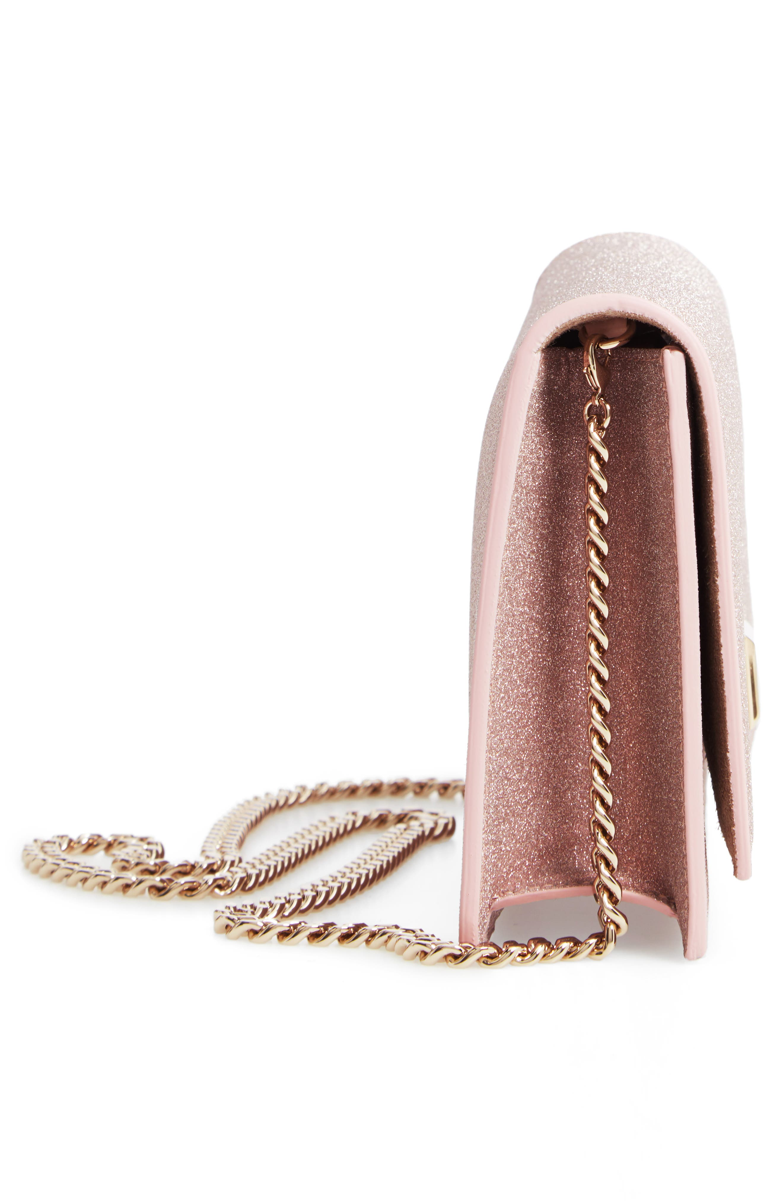 Lizzie Glitter Clutch,                             Alternate thumbnail 5, color,                             BALLET PINK