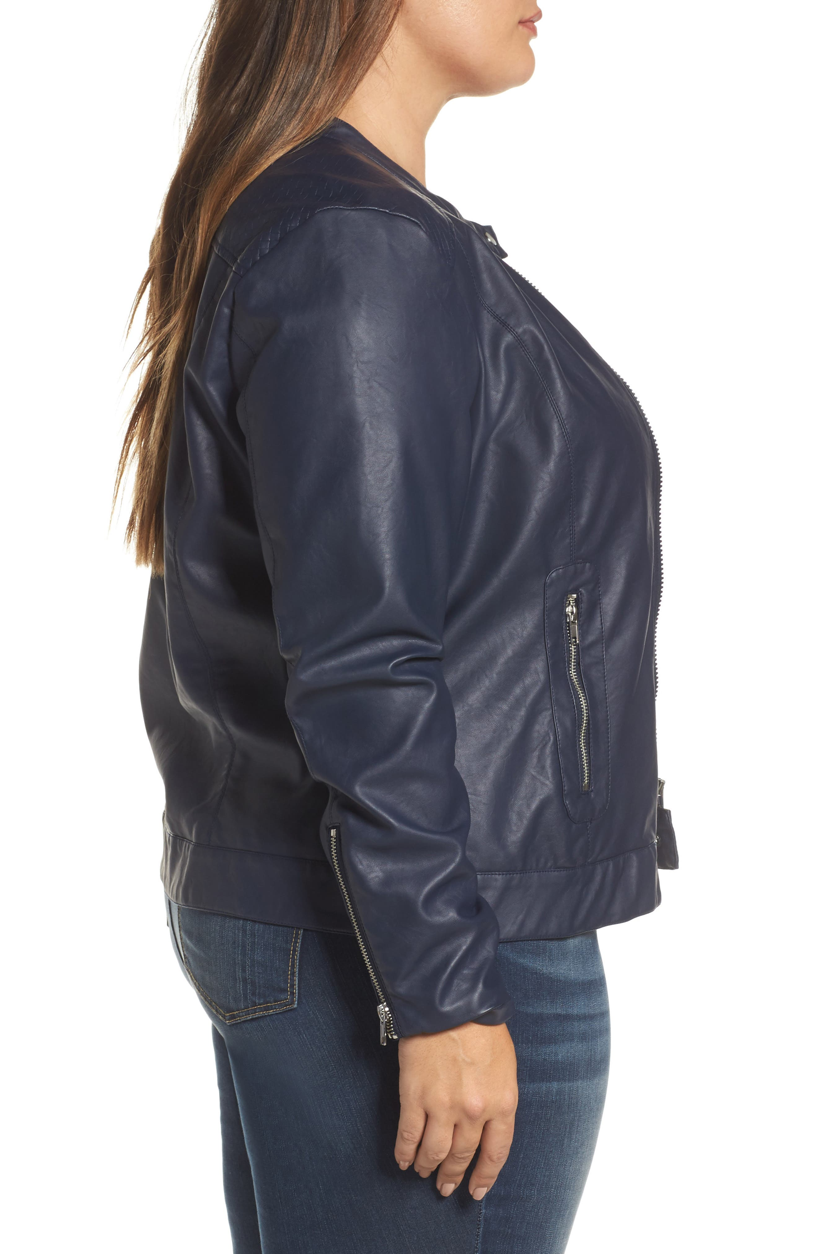 Vava Faux Leather Moto Jacket,                             Alternate thumbnail 3, color,                             411