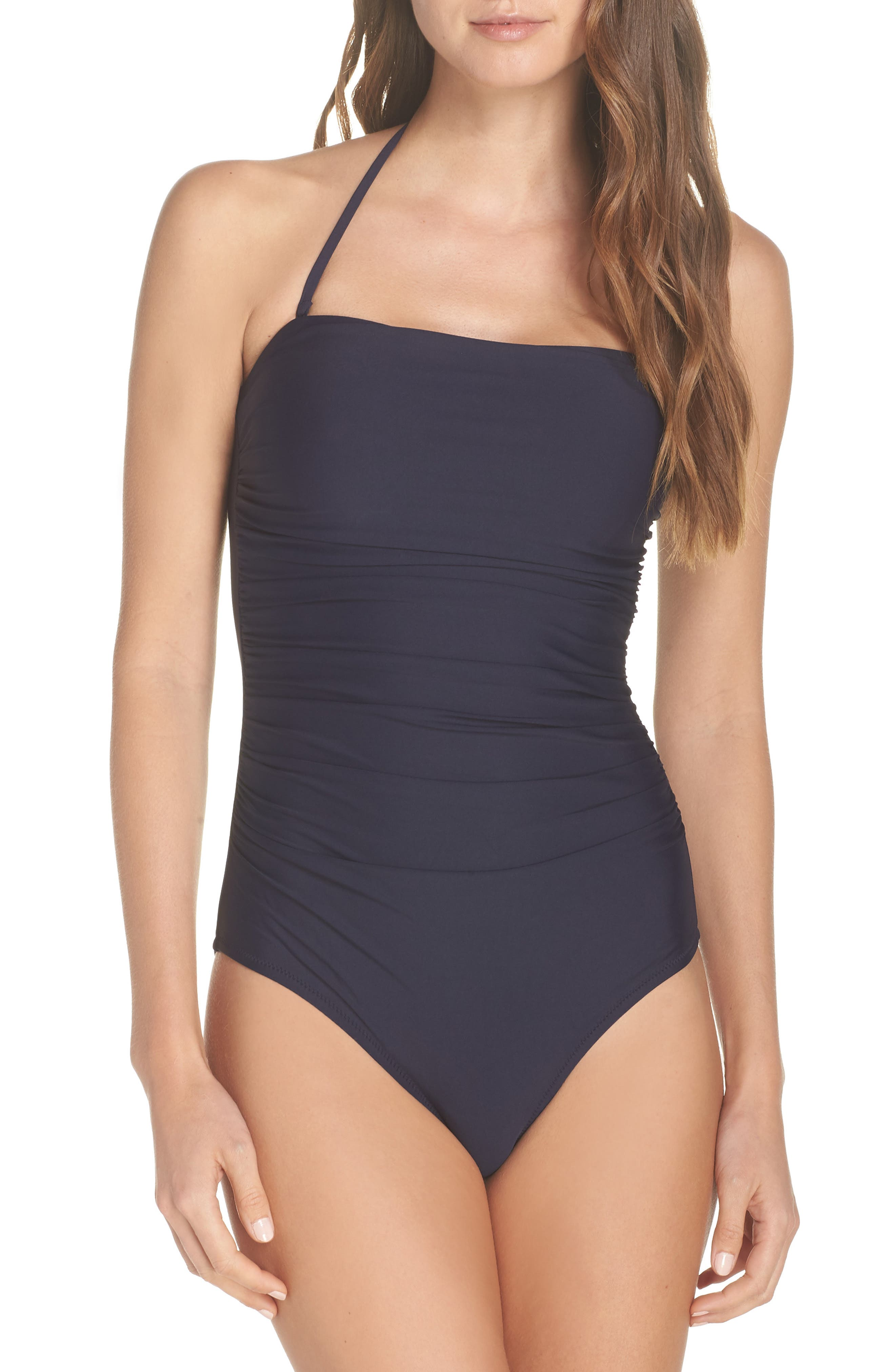 Ruched One-Piece Bandeau Swimsuit,                             Alternate thumbnail 2, color,                             NAVY