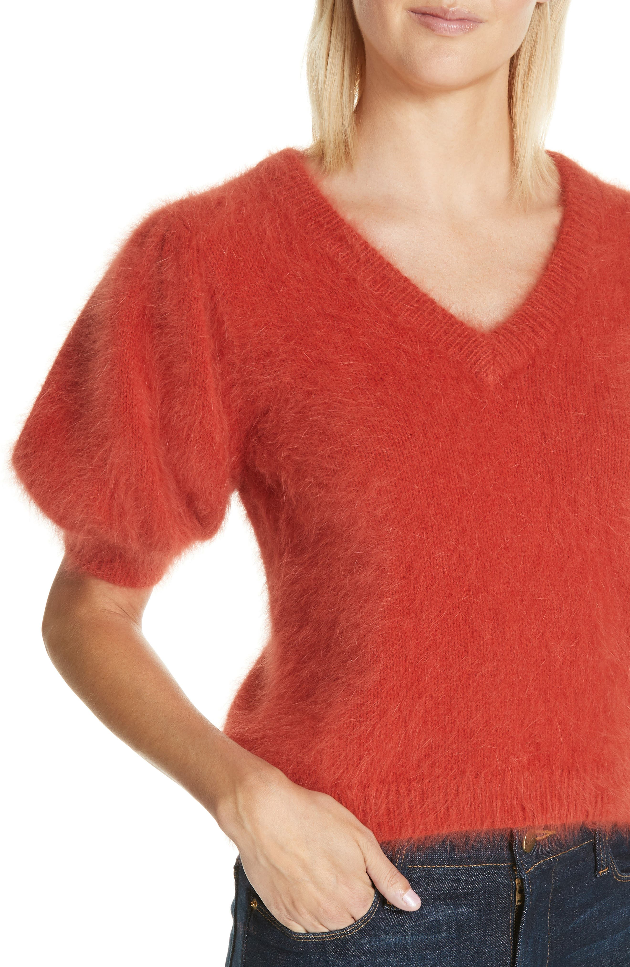 Aries Puff Sleeve Sweater,                             Alternate thumbnail 4, color,                             CRIMSON
