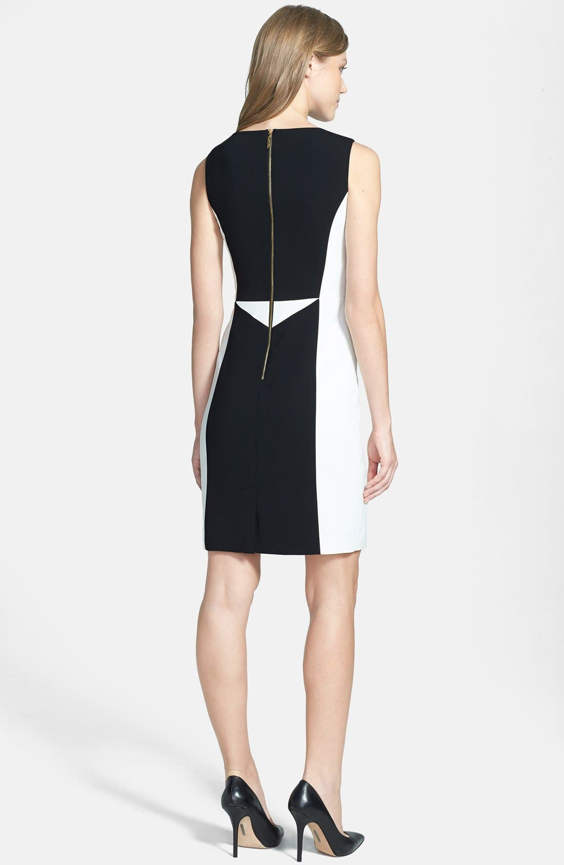 Colorblock Sheath Dress,                             Alternate thumbnail 3, color,                             001