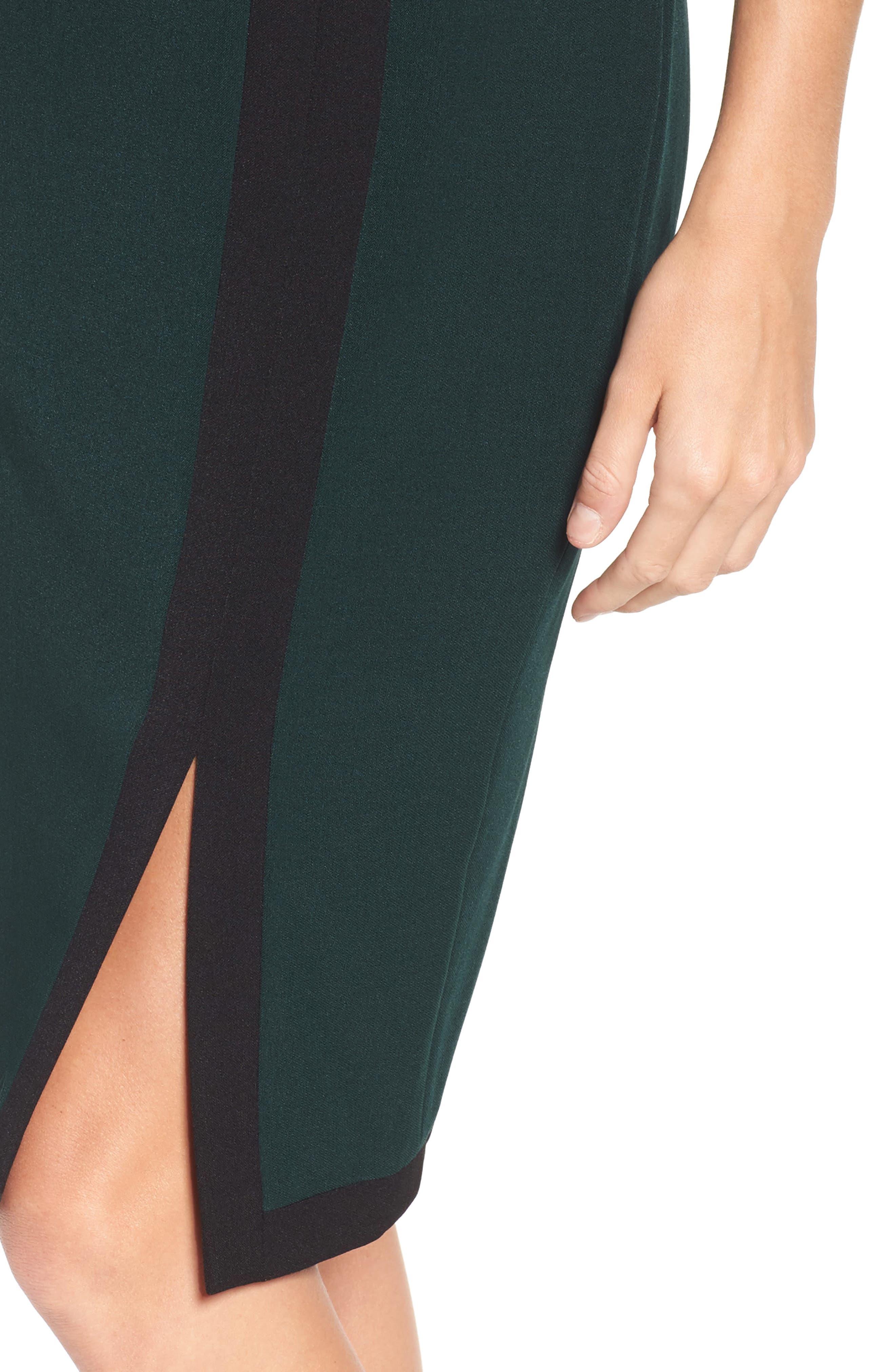 Scuba & Crepe Sheath Dress,                             Alternate thumbnail 7, color,