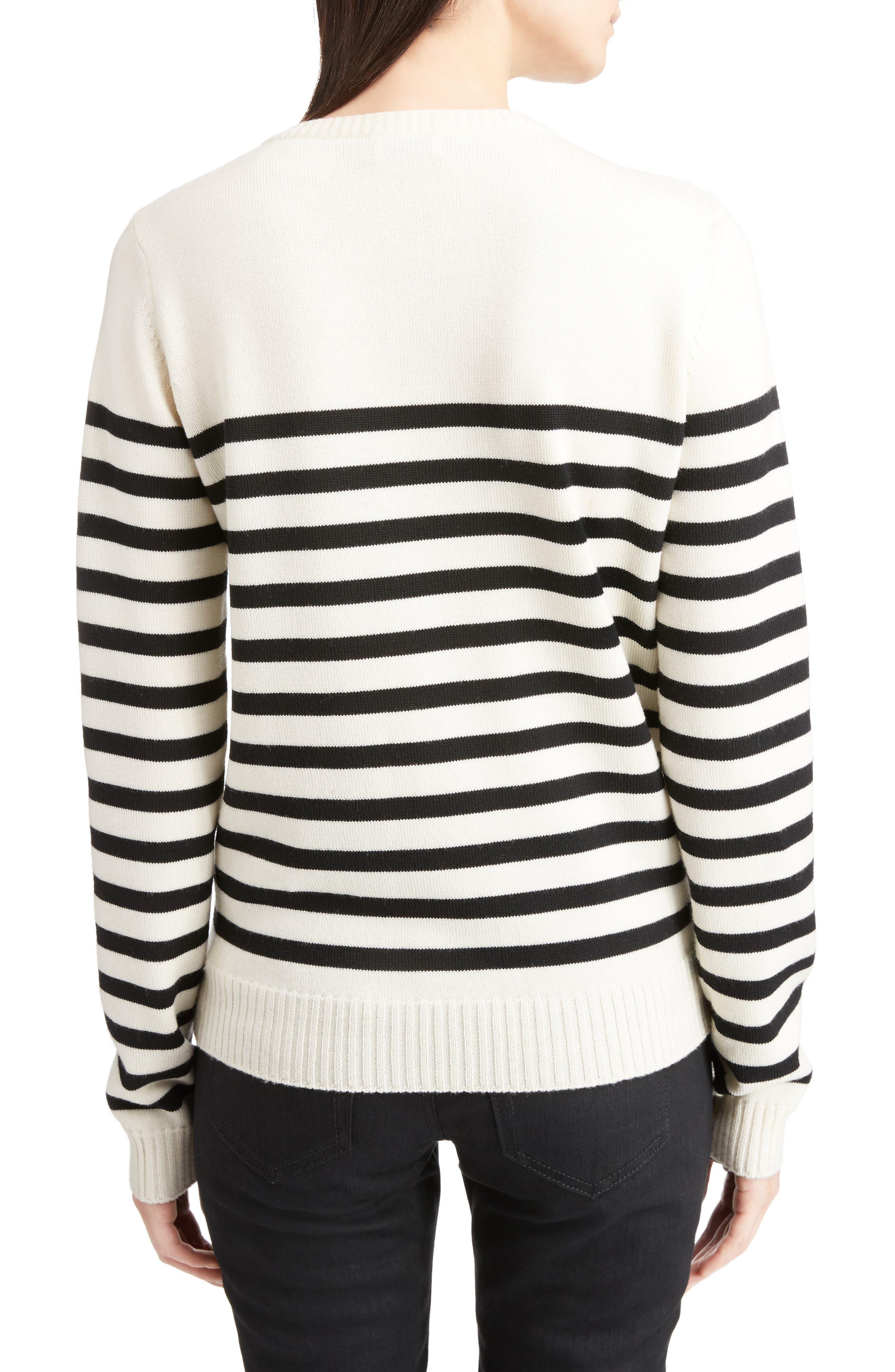Button Detail Stripe Sweater,                             Alternate thumbnail 2, color,                             100