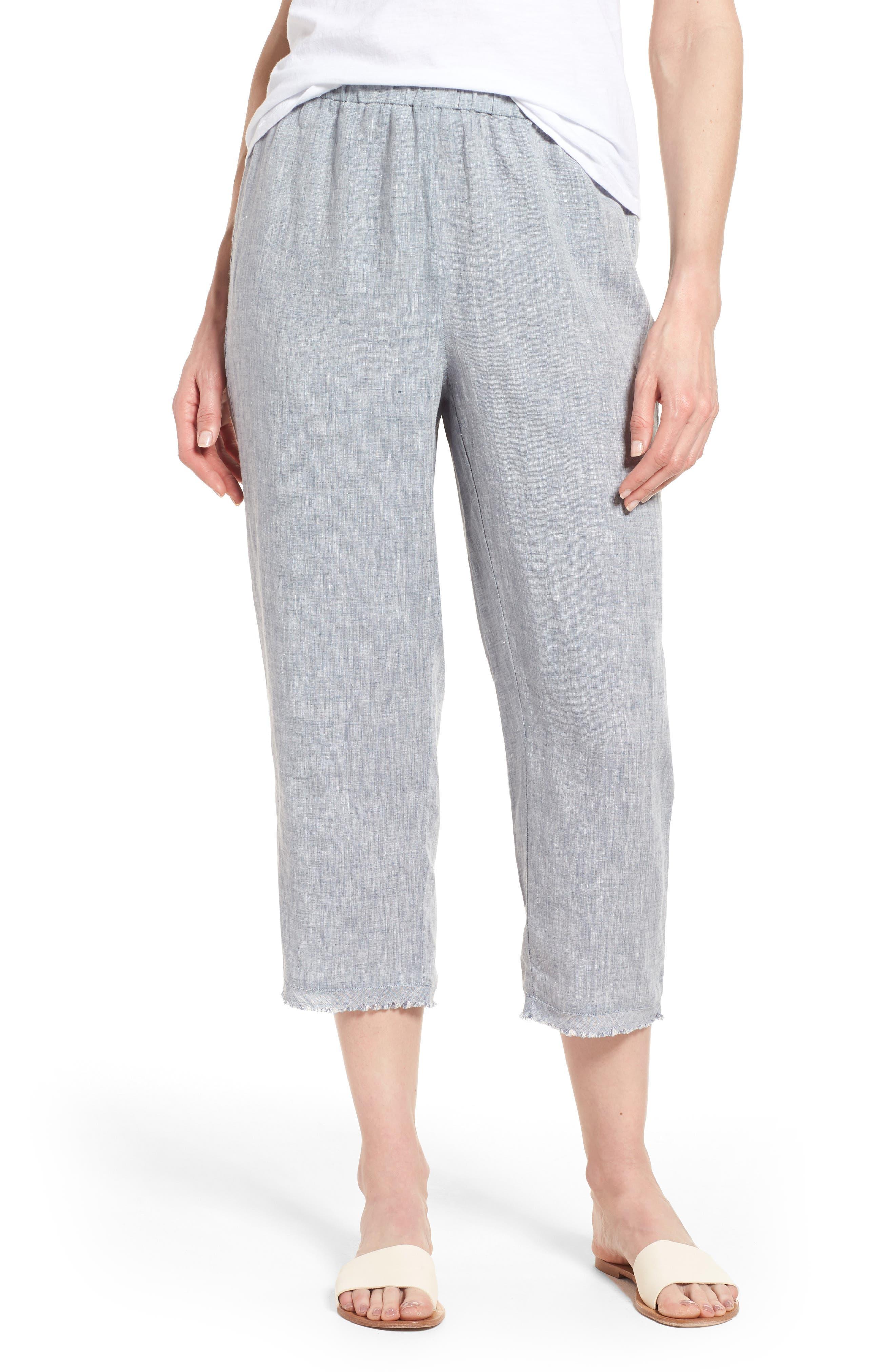 Crop Straight Leg Linen Pants,                             Main thumbnail 2, color,