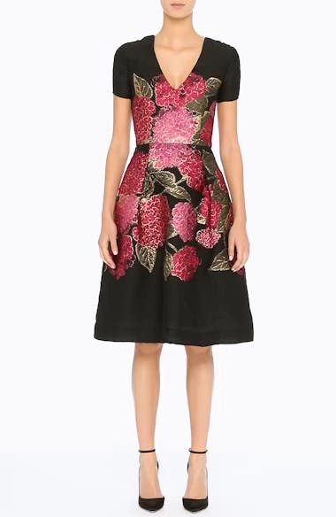 Alternate Video 6  - Carolina Herrera Embroidered Brocade Fit & Flare Dress
