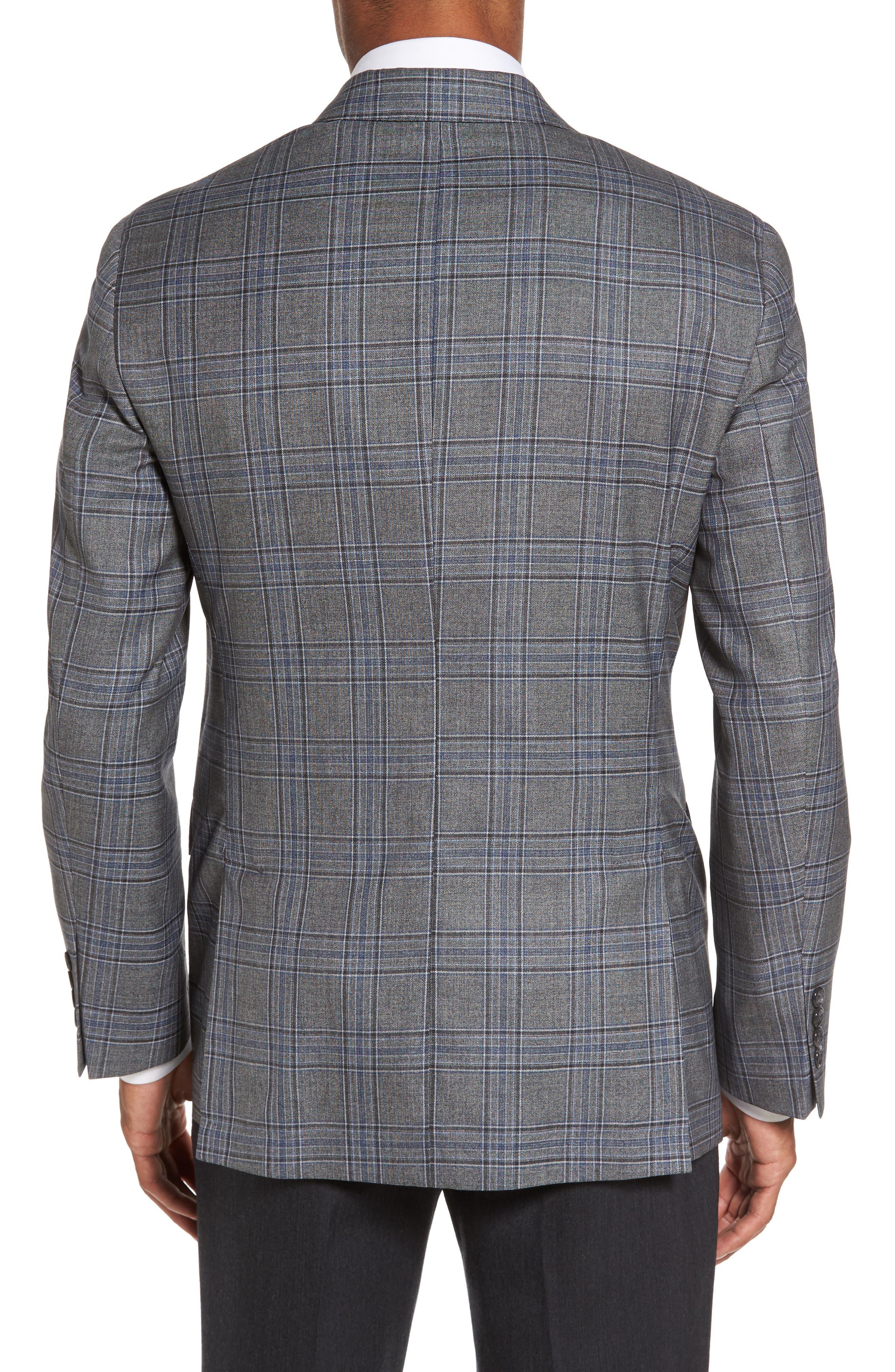 Trim Fit Plaid Wool Sport Coat,                             Alternate thumbnail 2, color,                             030