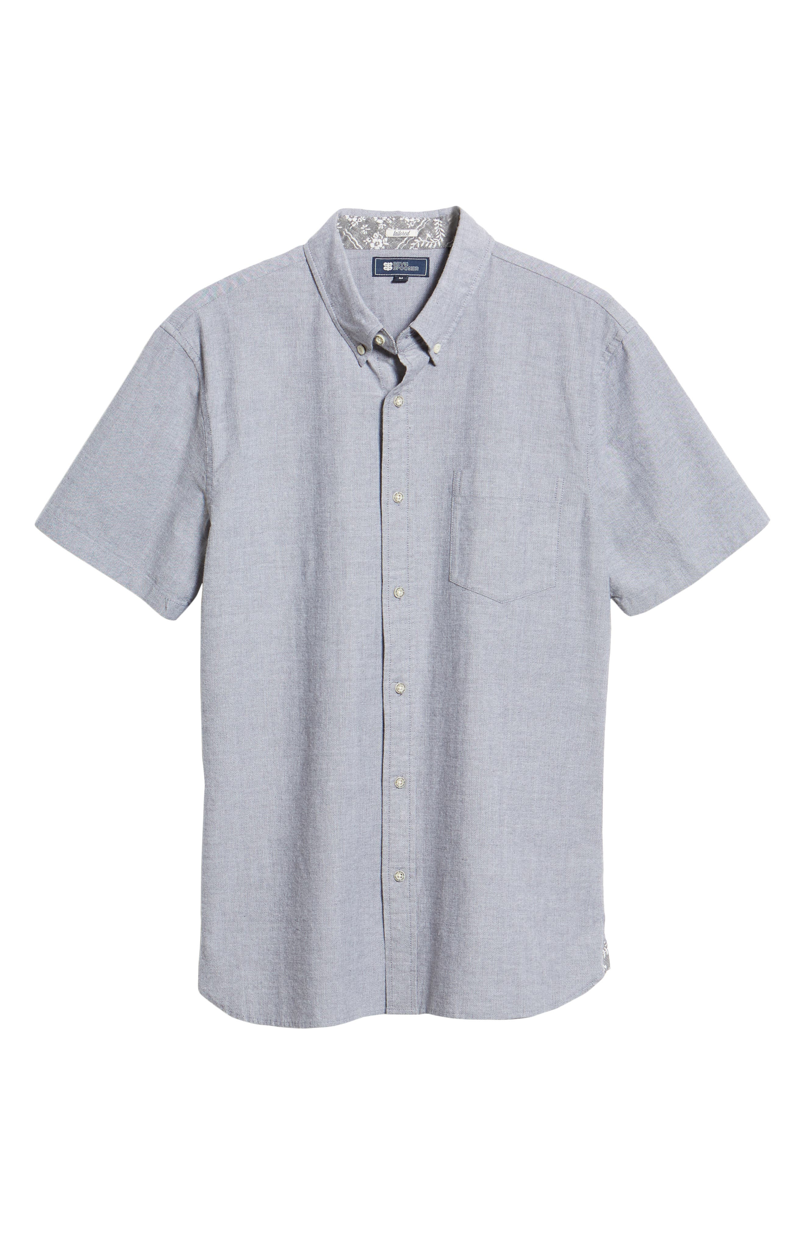 Regular Fit Solid Stretch Oxford Sport Shirt,                             Alternate thumbnail 5, color,                             GREY