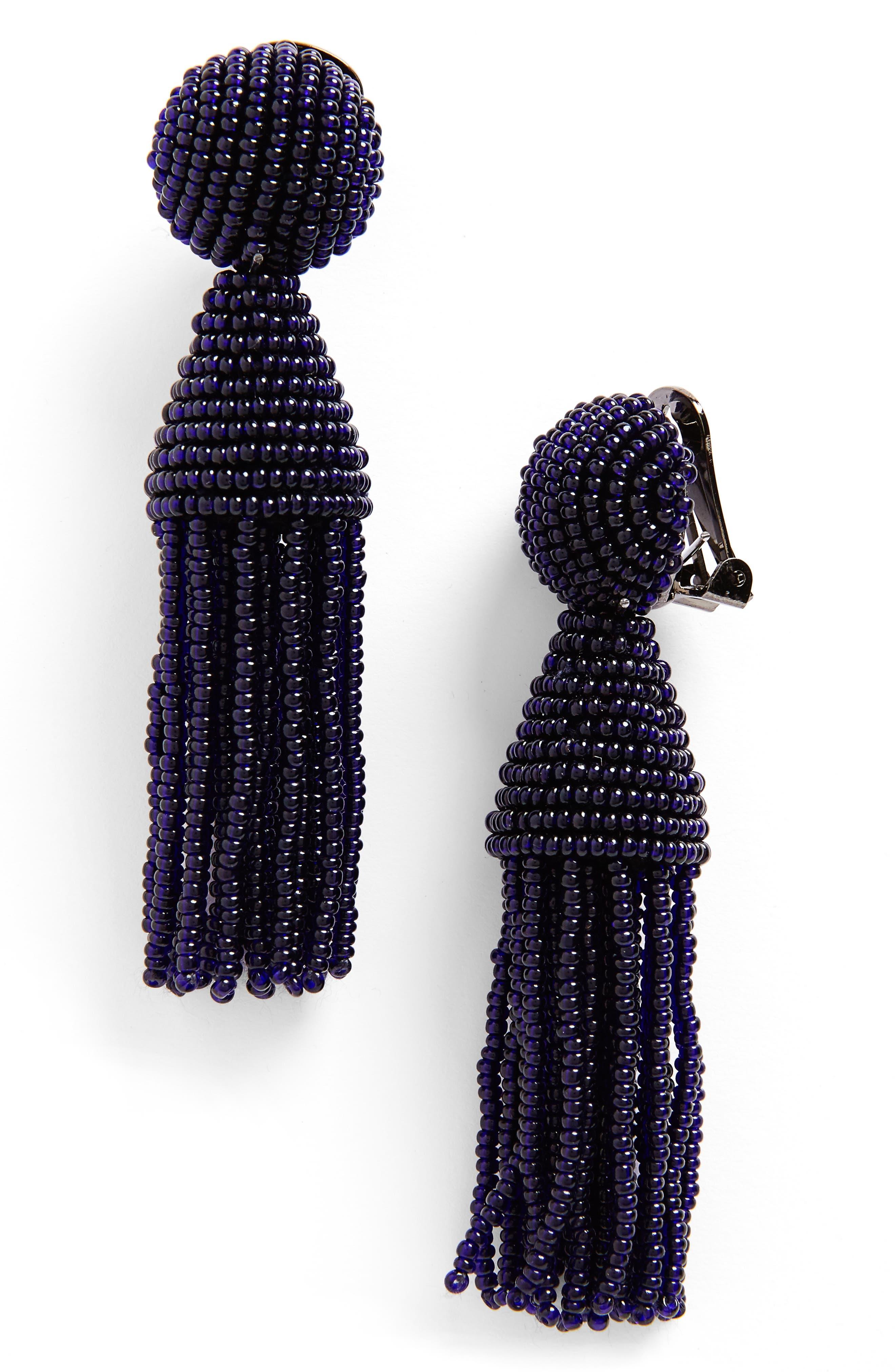 'Classic Short' Tassel Drop Clip Earrings,                             Main thumbnail 14, color,
