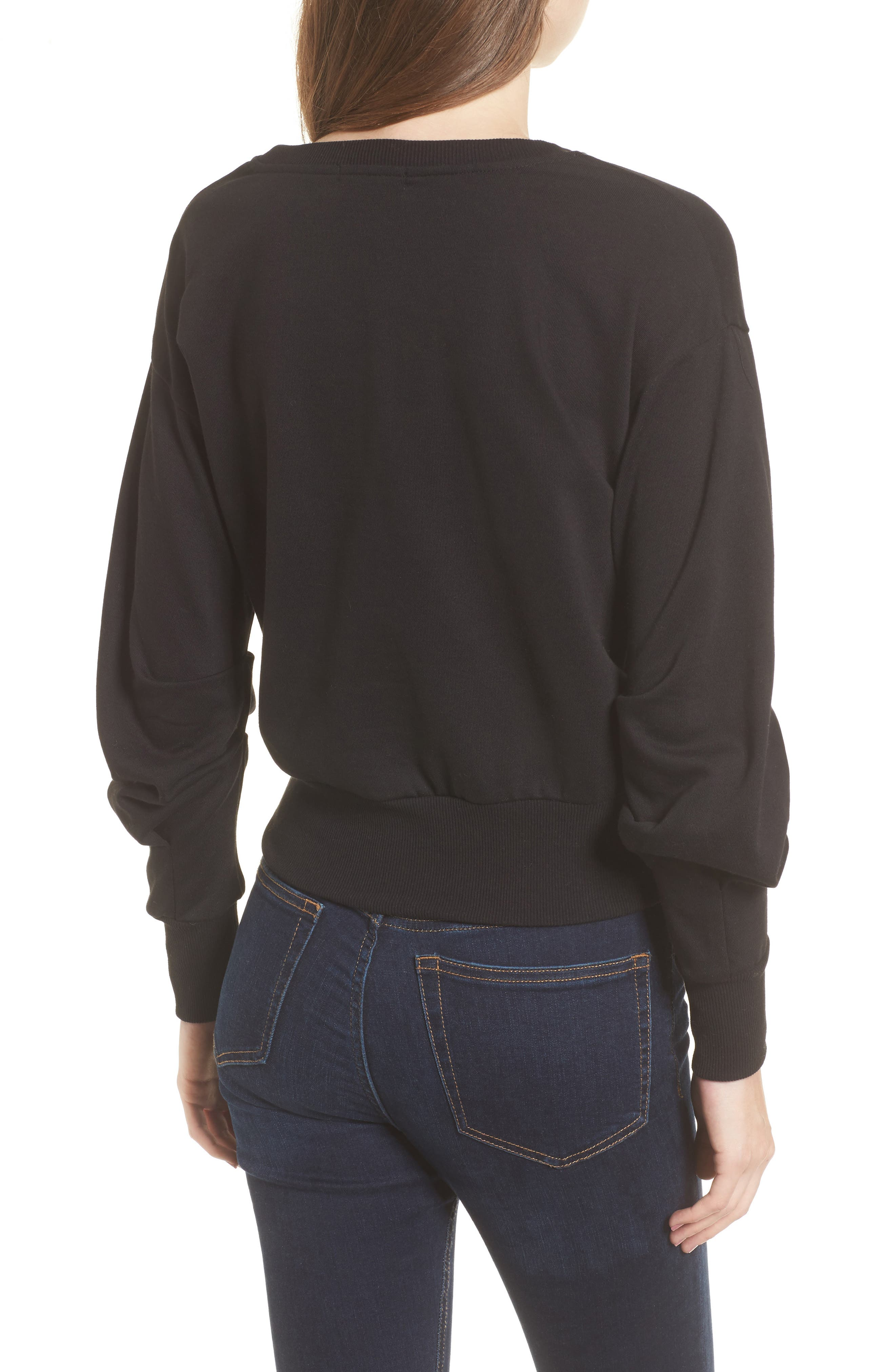 Ruched Sleeve Sweatshirt,                             Alternate thumbnail 2, color,                             001