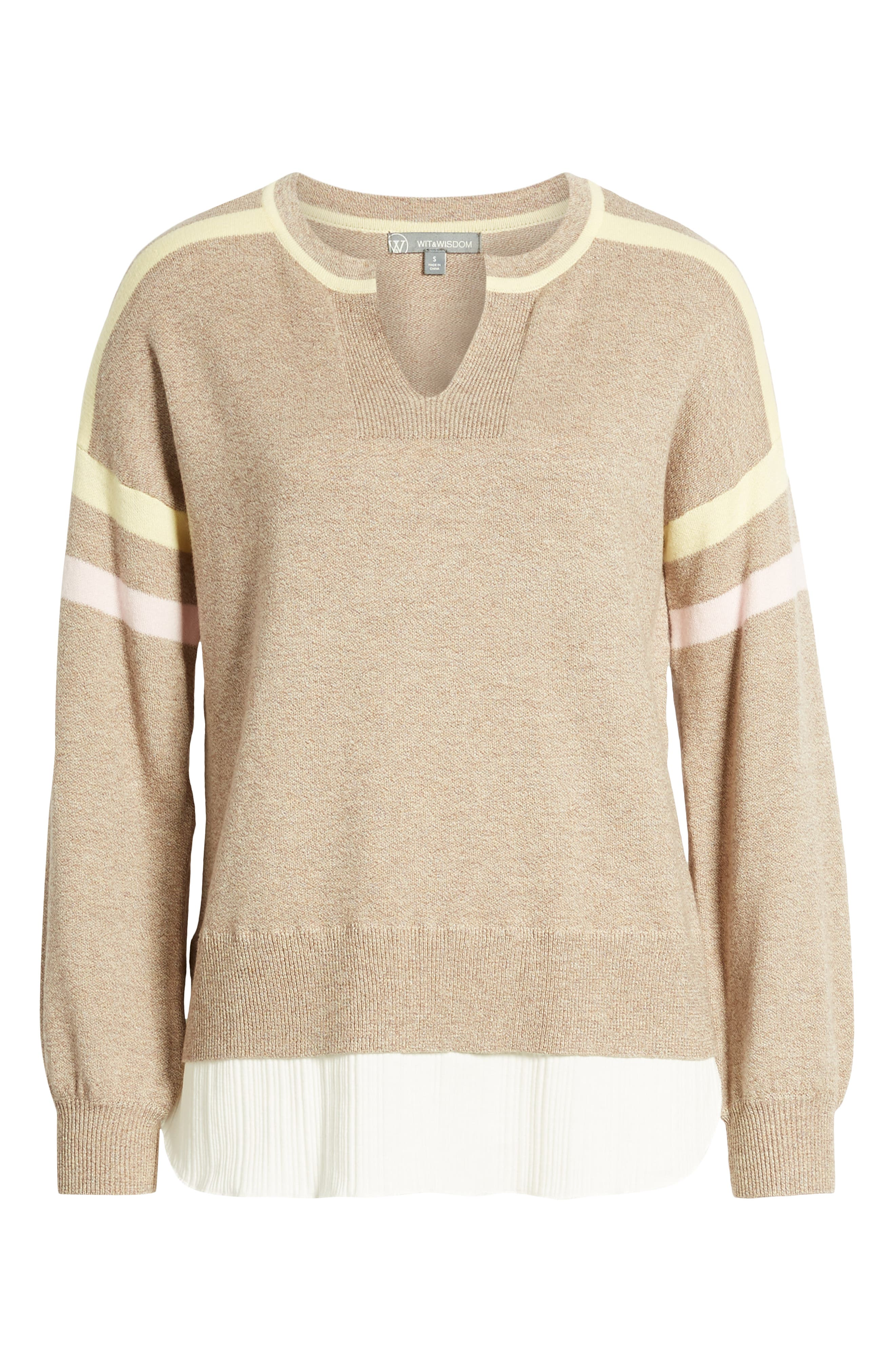Layered Look Stripe Sweater,                             Alternate thumbnail 6, color,                             HEATHER CLOVE