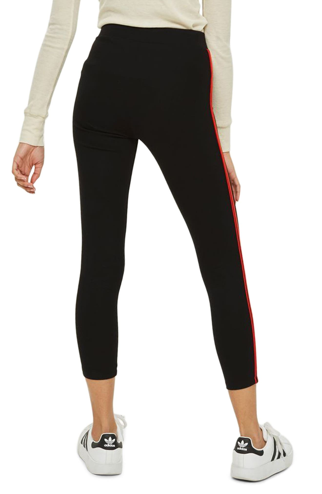 Petite Side Stripe Ponte Leggings,                             Alternate thumbnail 2, color,                             001