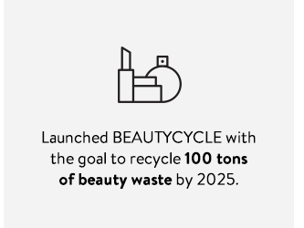 Launched BEAUTYCYCLE with the goal to recycle 100 tons of beauty waste by 2025.