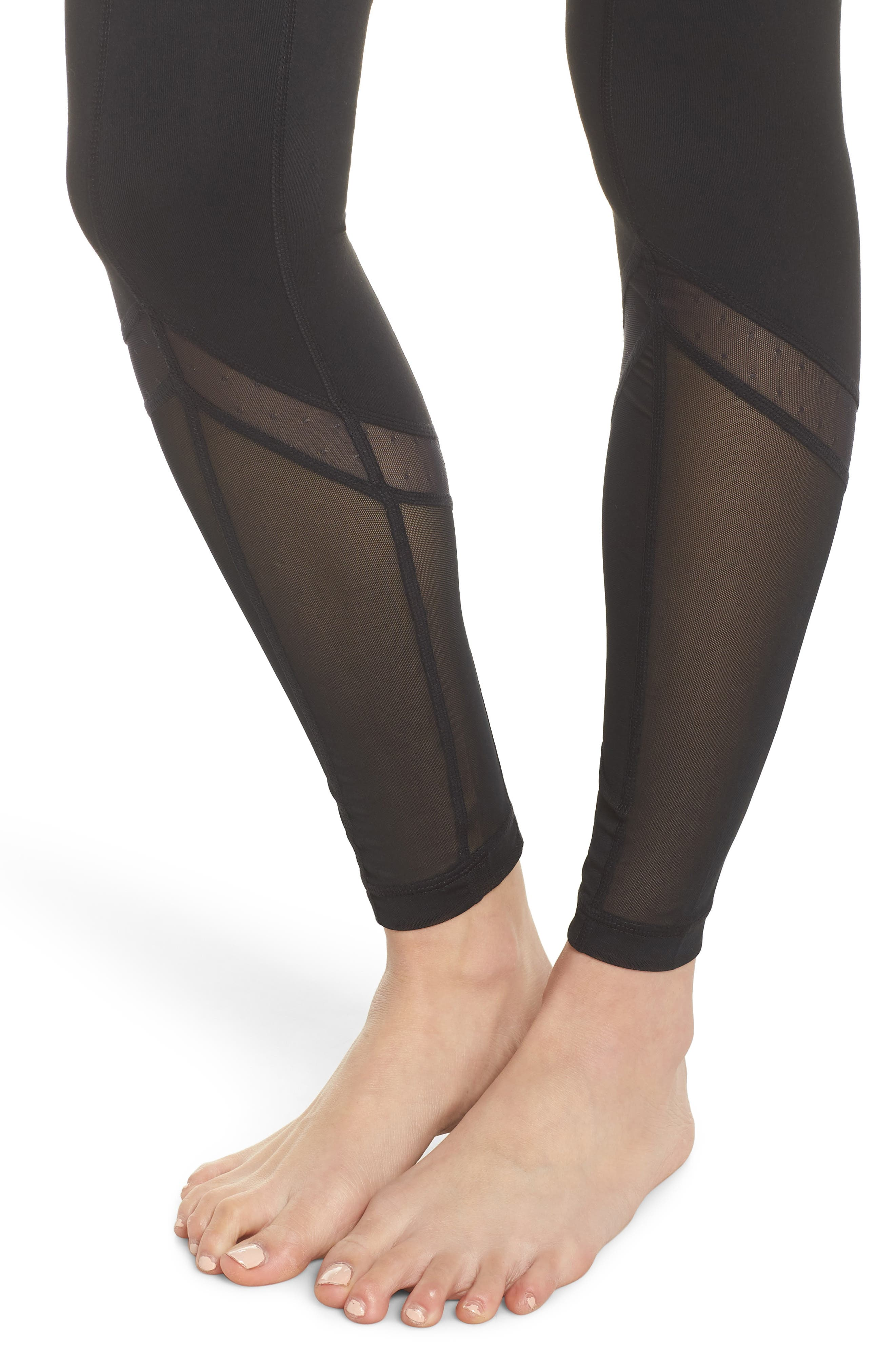 Sun Salutation High Waist Leggings,                             Alternate thumbnail 4, color,                             BLACK