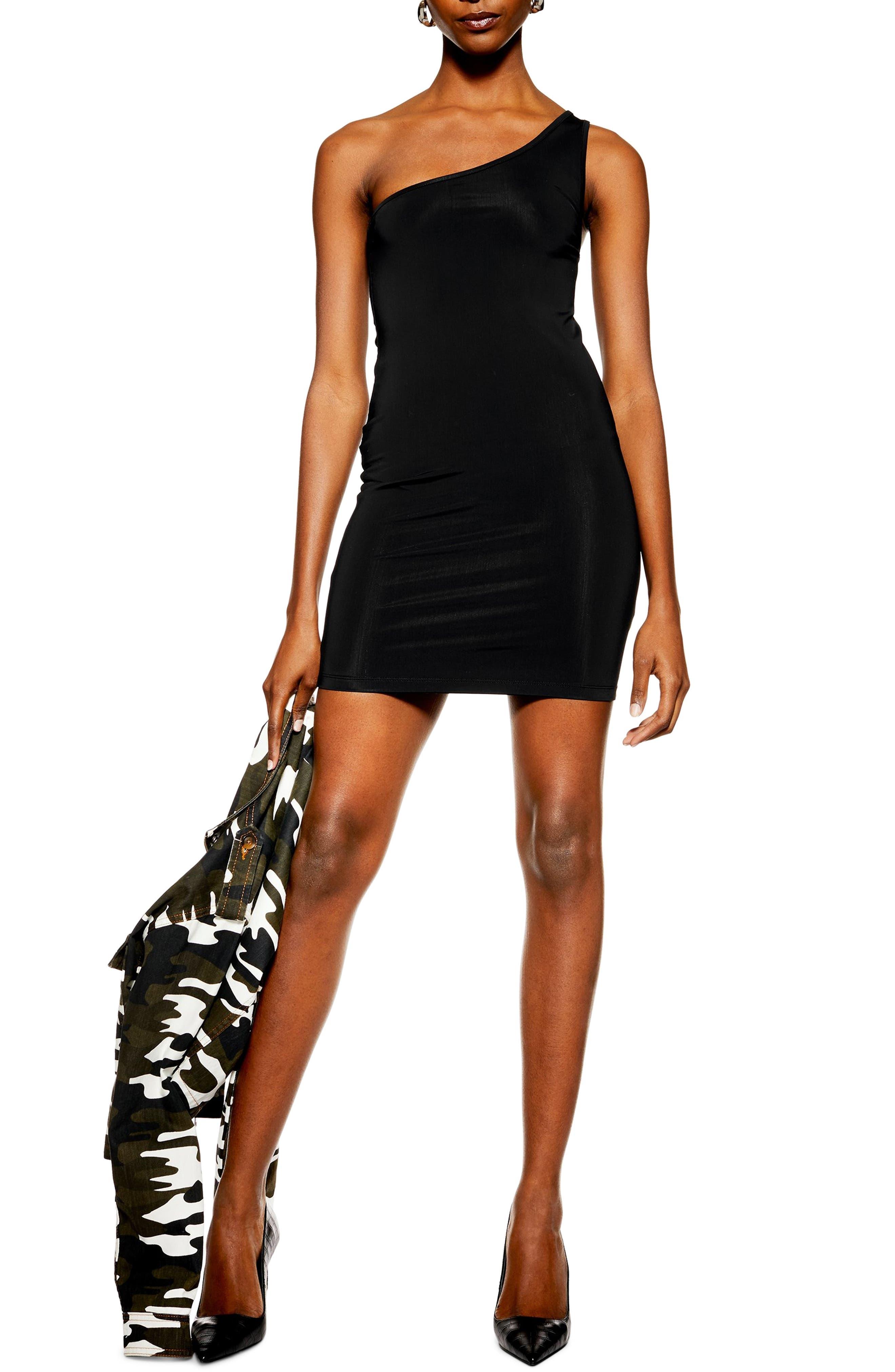 Topshop One-Shoulder Body-Con Minidress, US (fits like 2-4) - Black