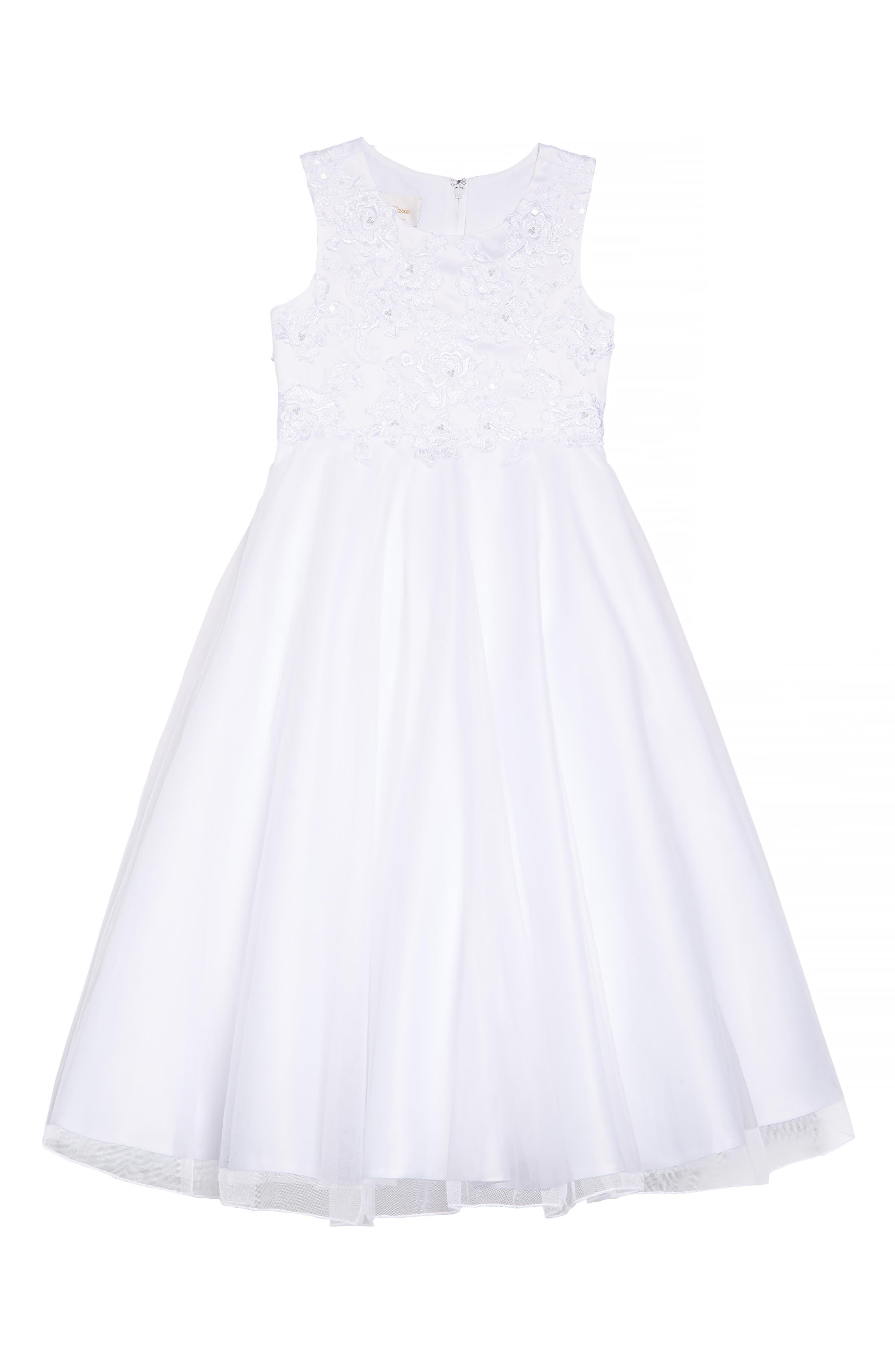 Girls Lauren Marie Embroidered Bodice Tulle Dress