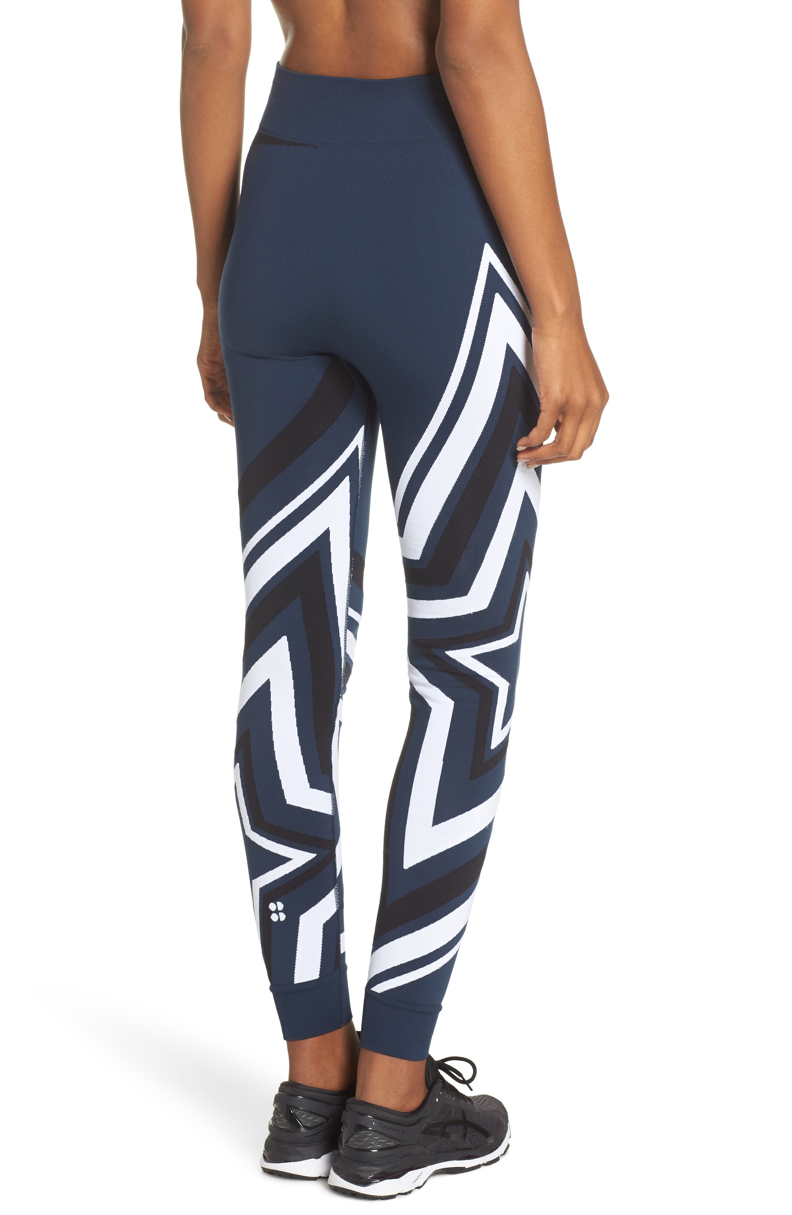 Star Graphic Seamless Leggings,                             Alternate thumbnail 2, color,                             BEETLE BLUE STAR JACQUARD