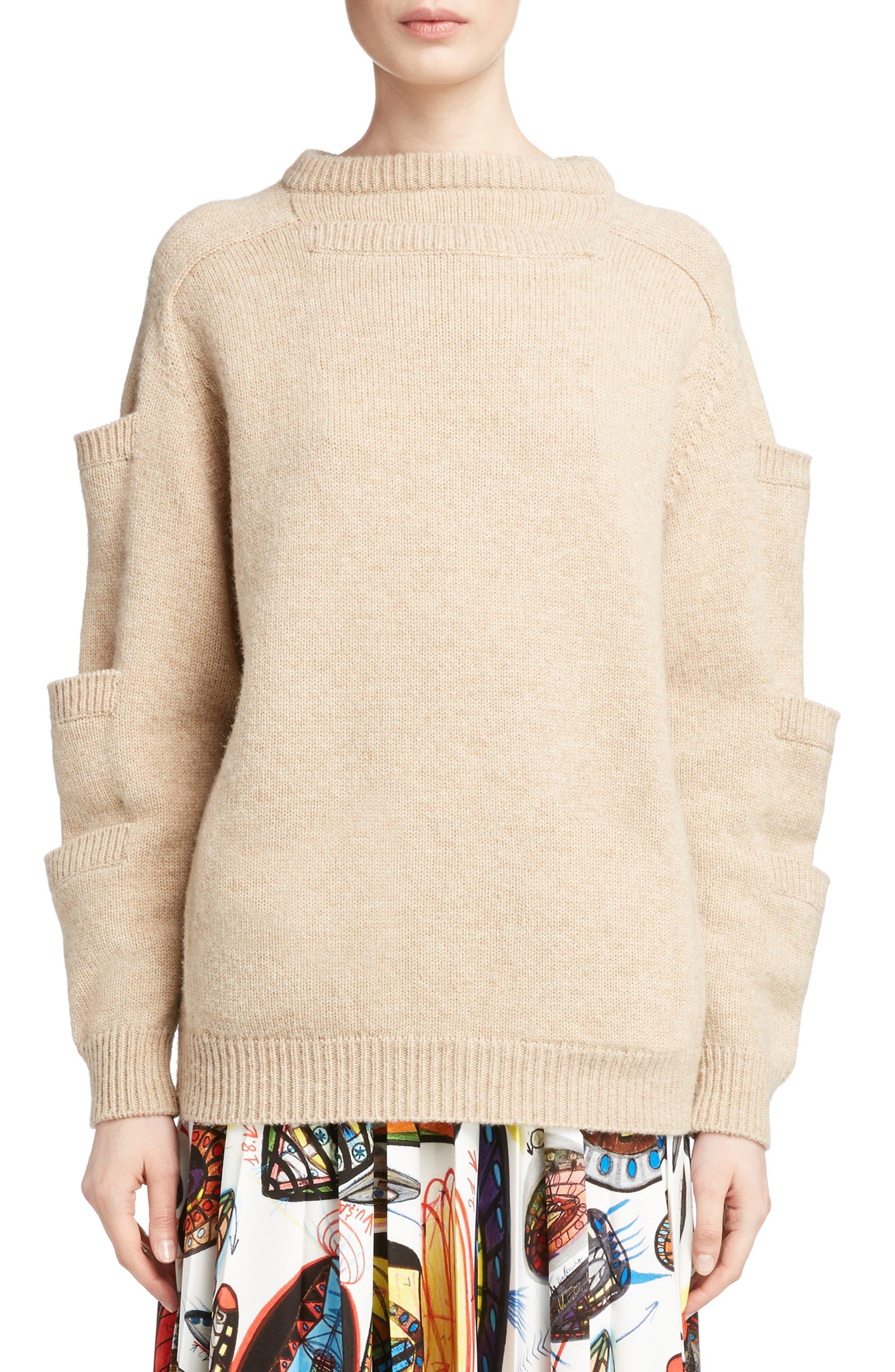 Sleeve Pocket Wool Sweater,                         Main,                         color, 250