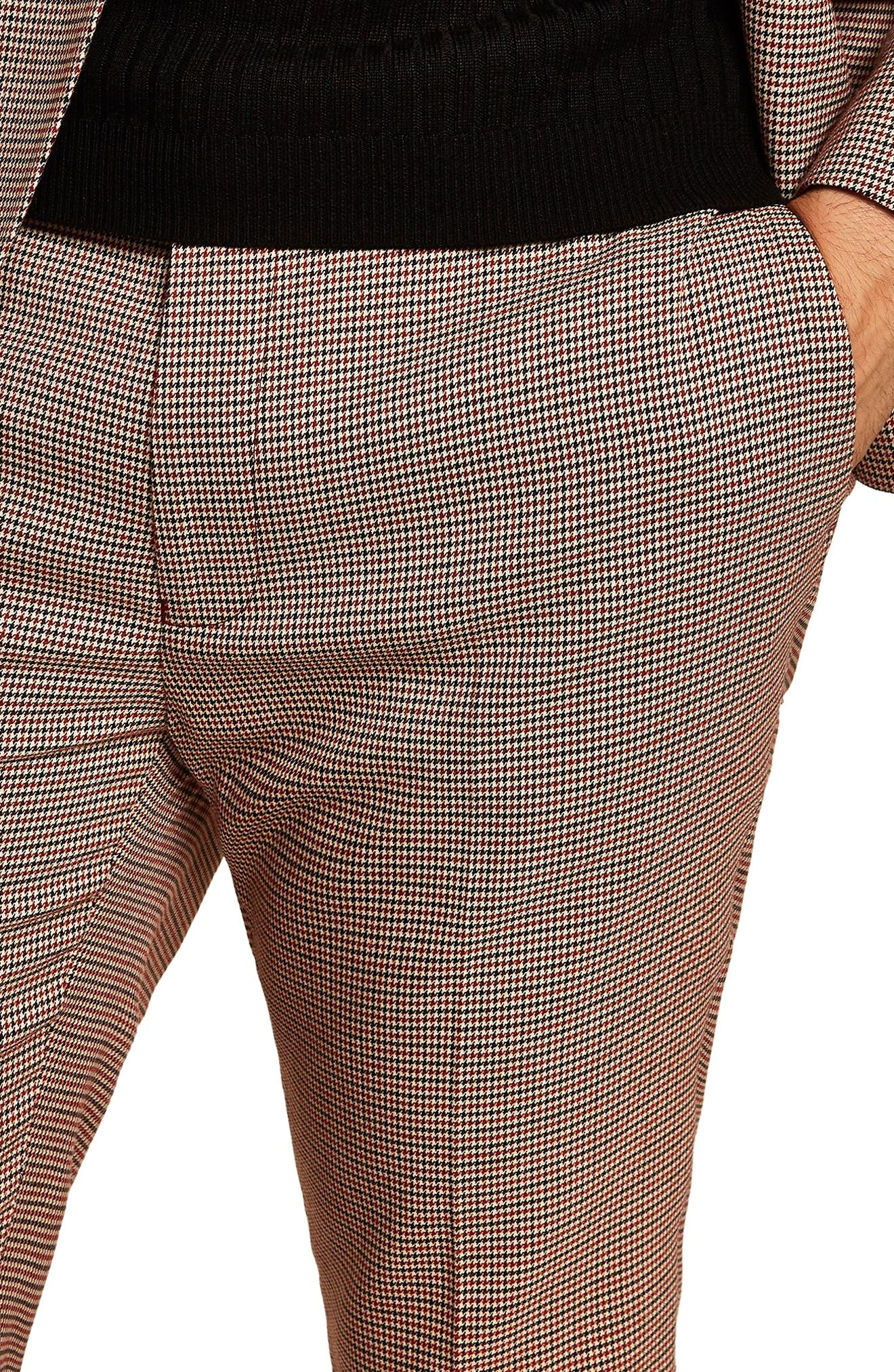 Houndstooth Skinny Fit Trousers,                             Alternate thumbnail 2, color,                             STONE