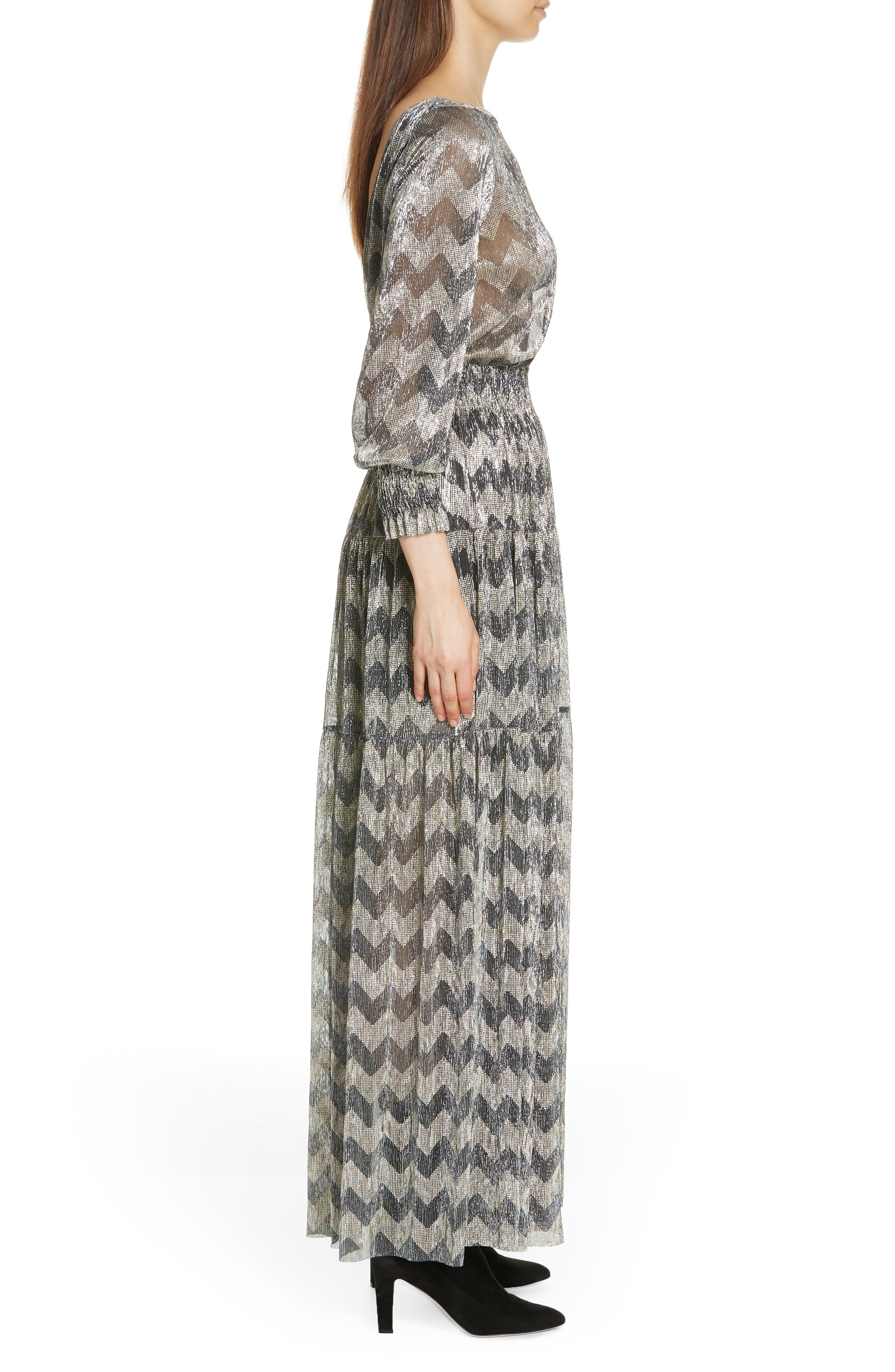 Grey Metallic Zigzag Maxi Dress,                             Alternate thumbnail 3, color,                             ANTHRACITE