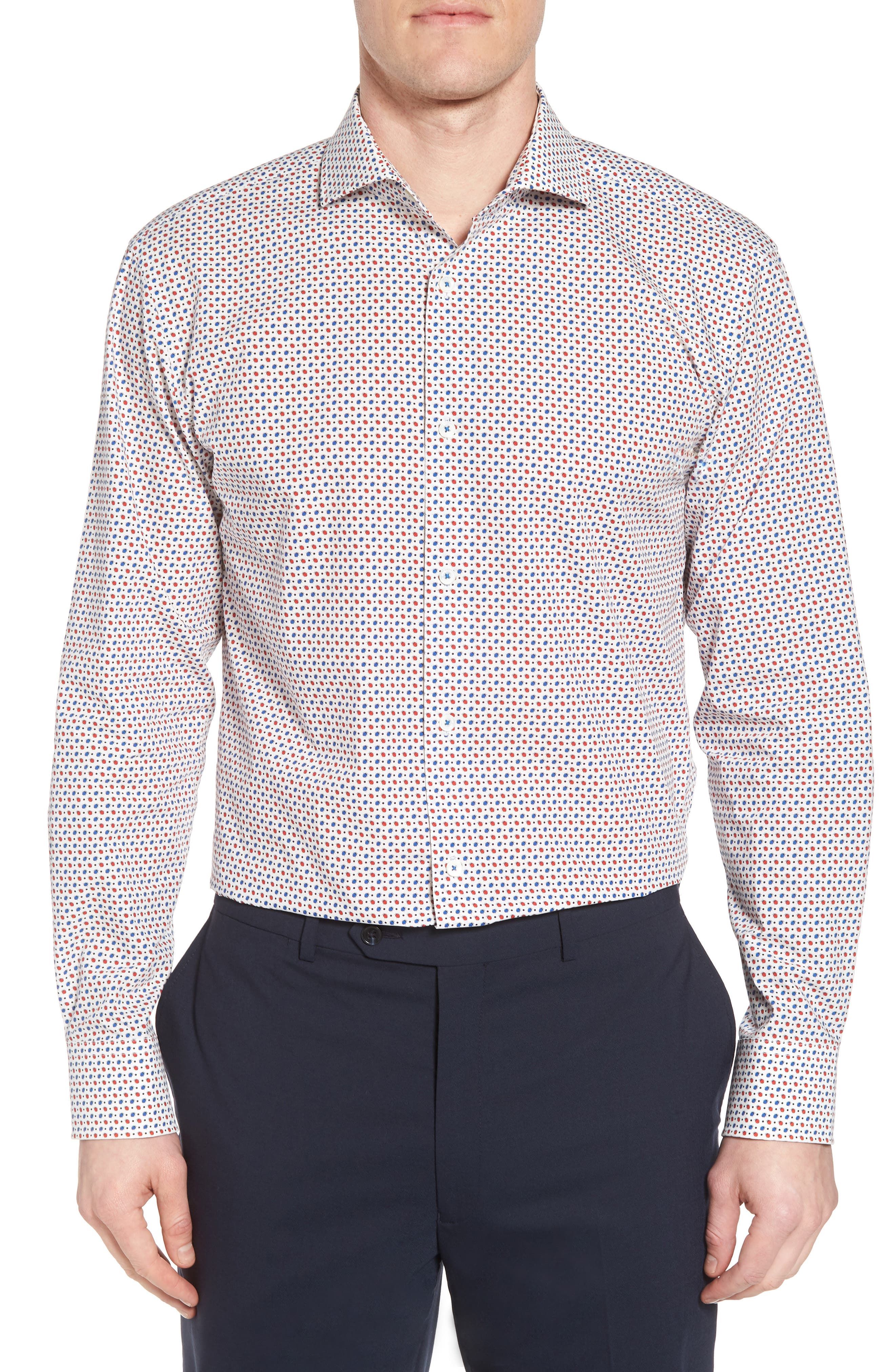 Trim Fit Print Dress Shirt,                         Main,                         color, RUBY