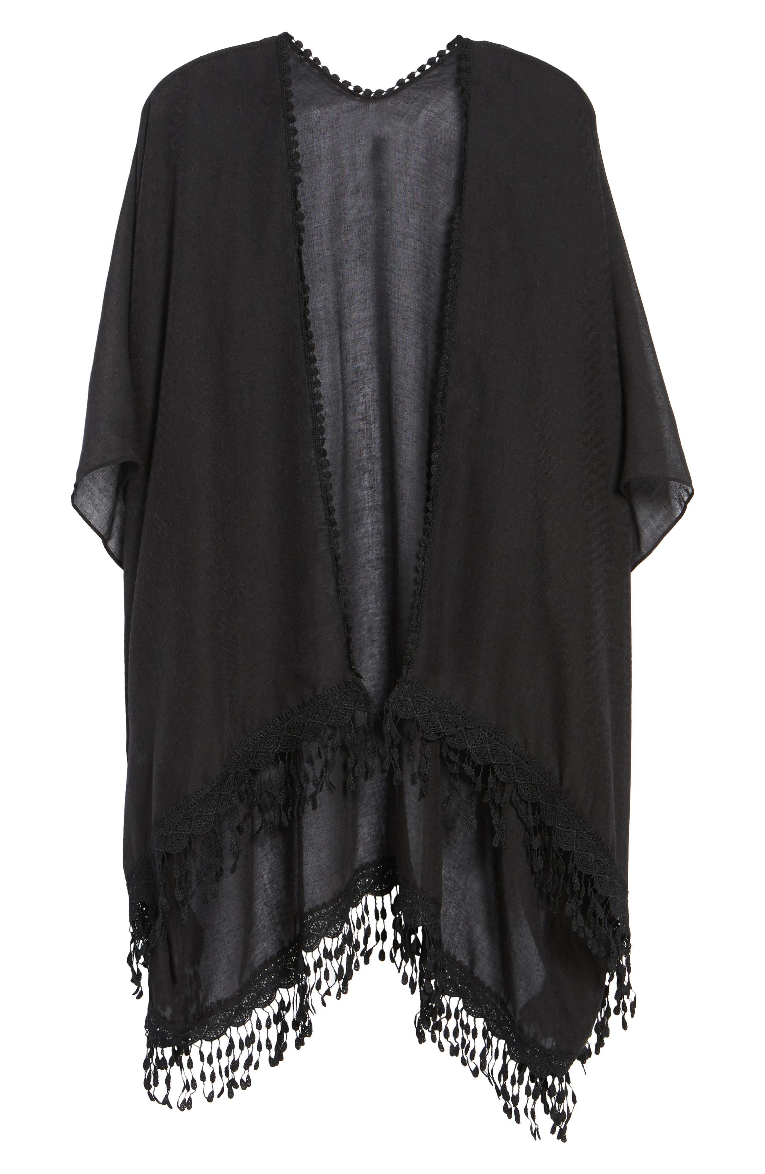 Caslon<sup>®</sup> Lace Trim Ruana,                             Alternate thumbnail 6, color,                             BLACK