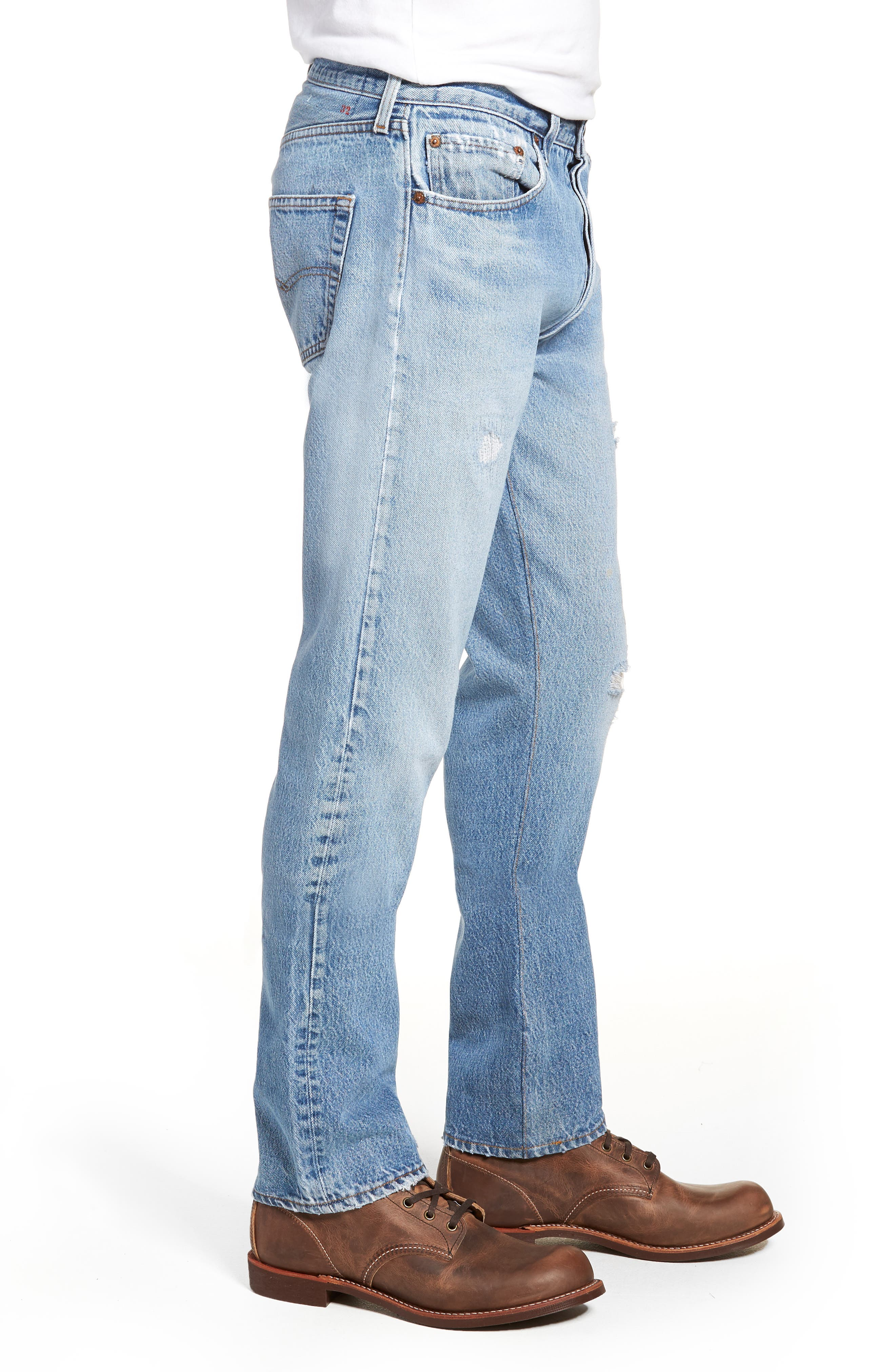 Authorized Vintage 501<sup>™</sup> Tapered Slim Fit Jeans,                             Alternate thumbnail 3, color,                             AV BLUE