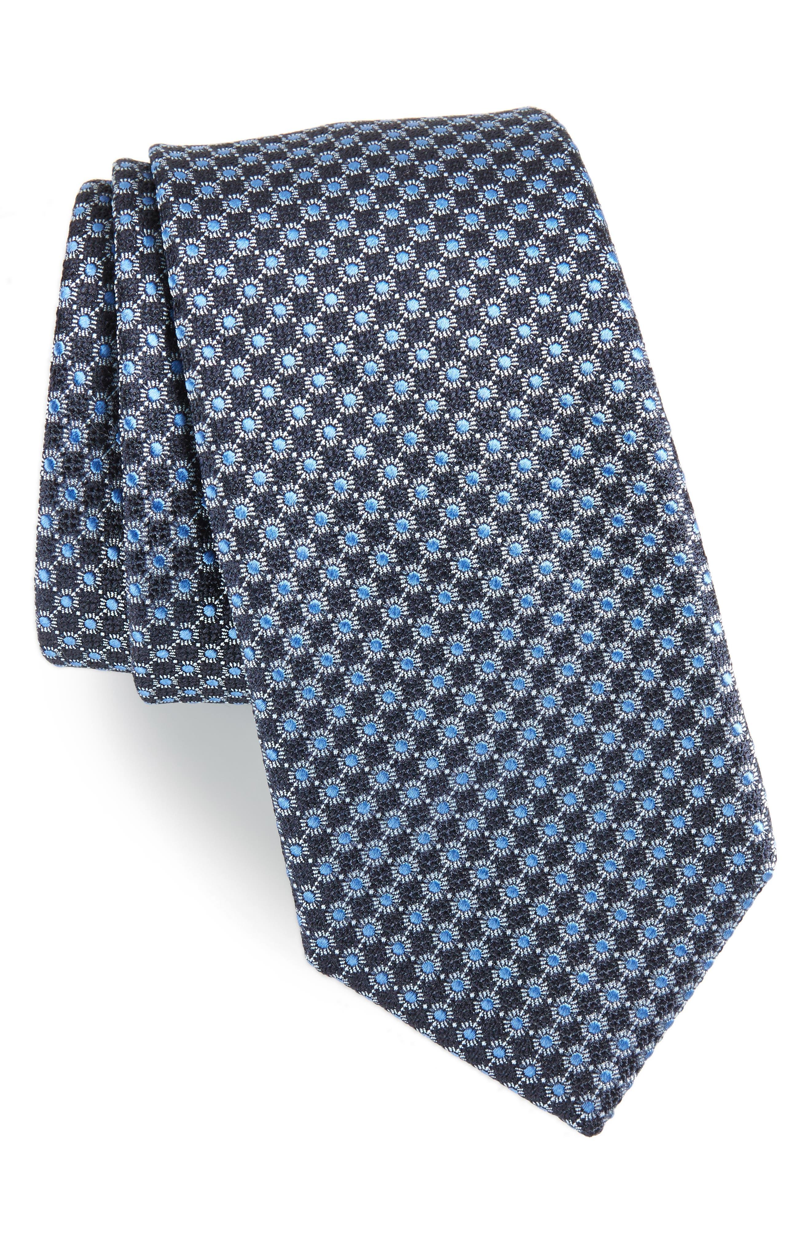 Geometric Neat Silk Tie,                         Main,                         color, 412