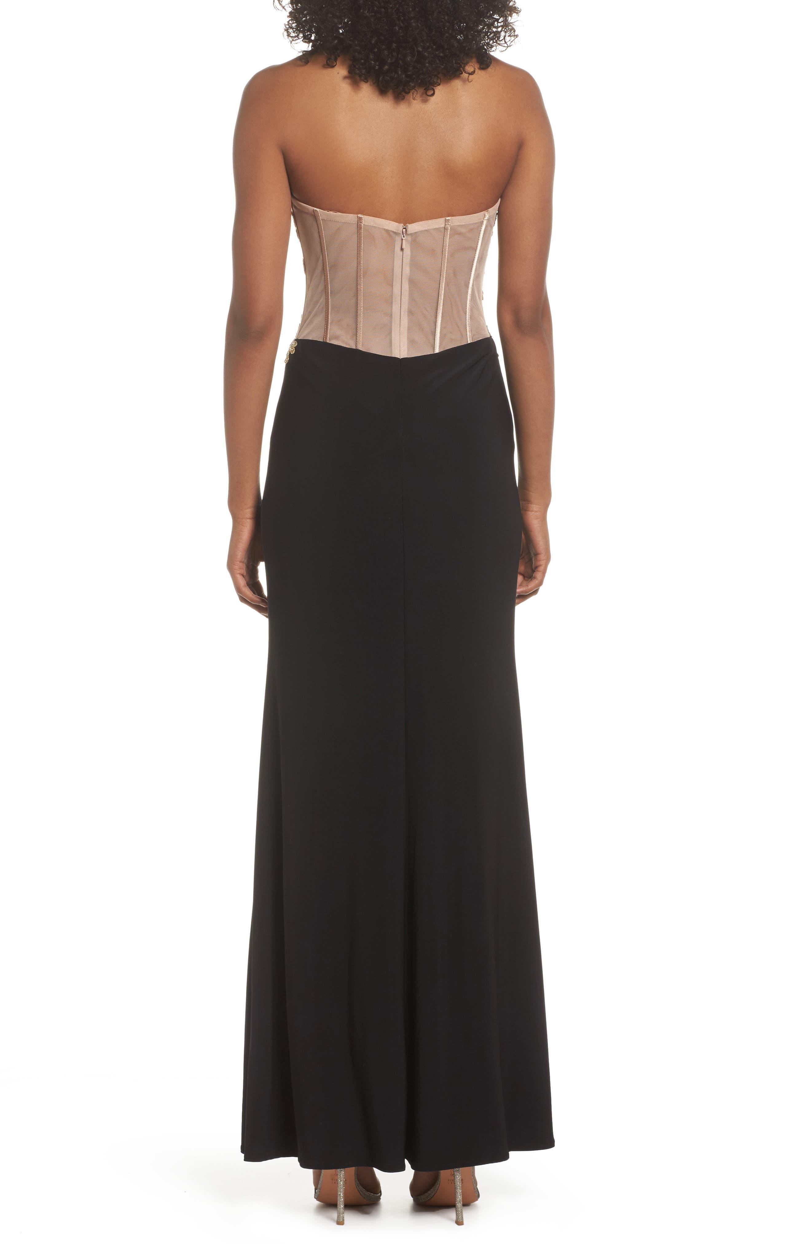 Appliqué Strapless Bustier Gown,                             Alternate thumbnail 2, color,                             GOLD/BLACK