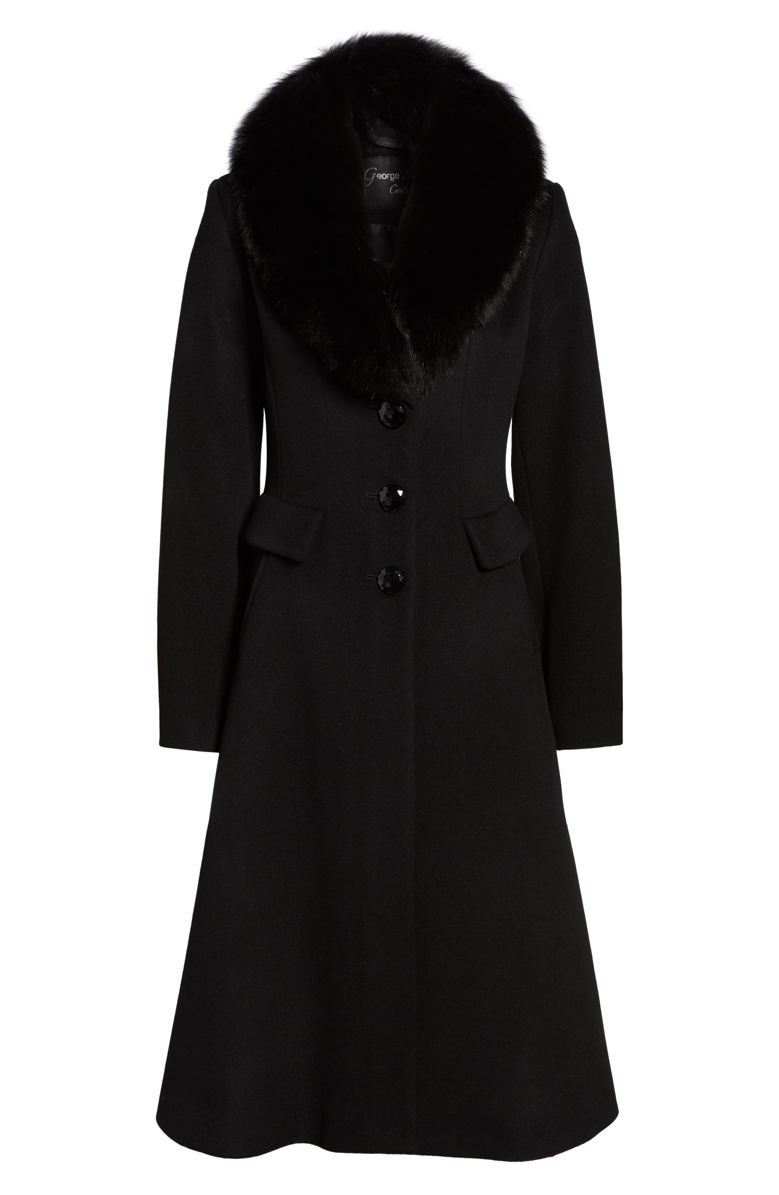 Couture Long Wool Blend Coat with Genuine Fox Fur Collar,                             Alternate thumbnail 5, color,                             001