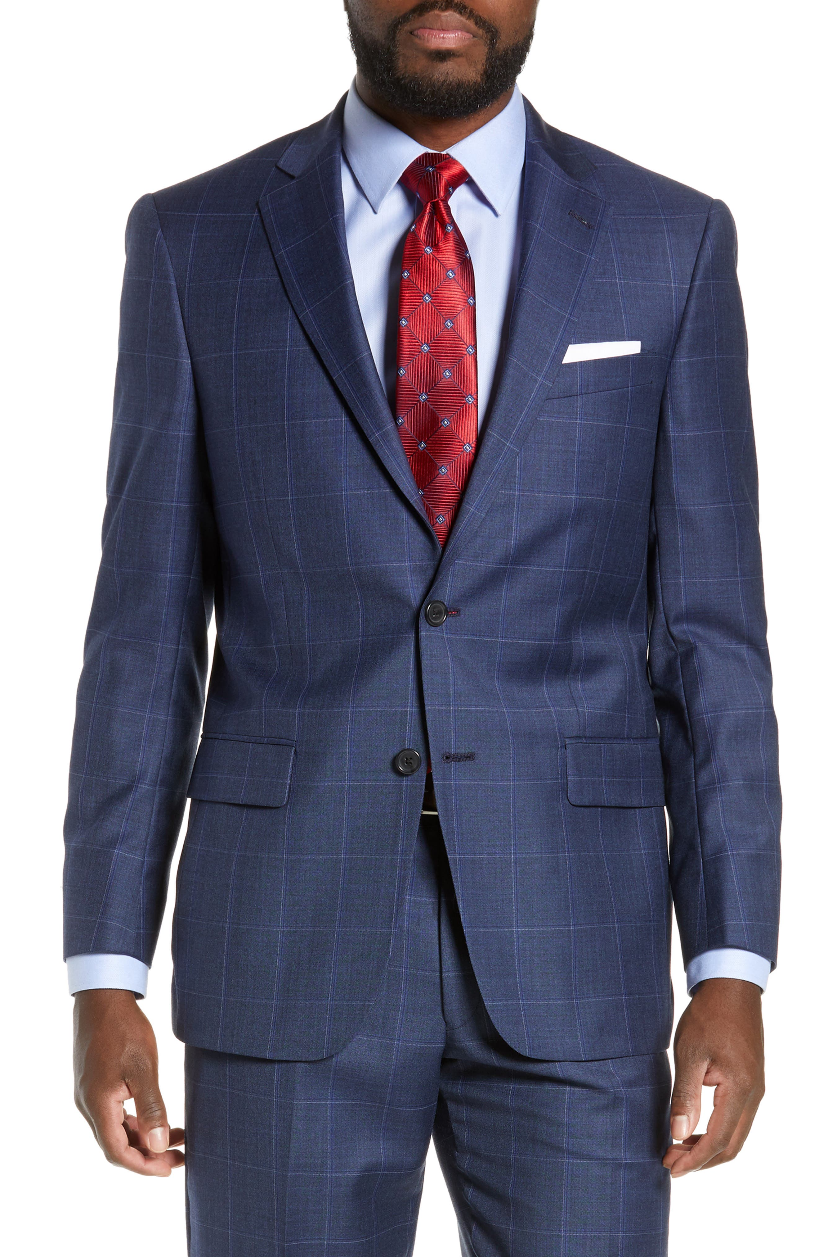 New York Classic Fit Windowpane Wool Suit,                             Alternate thumbnail 5, color,                             420
